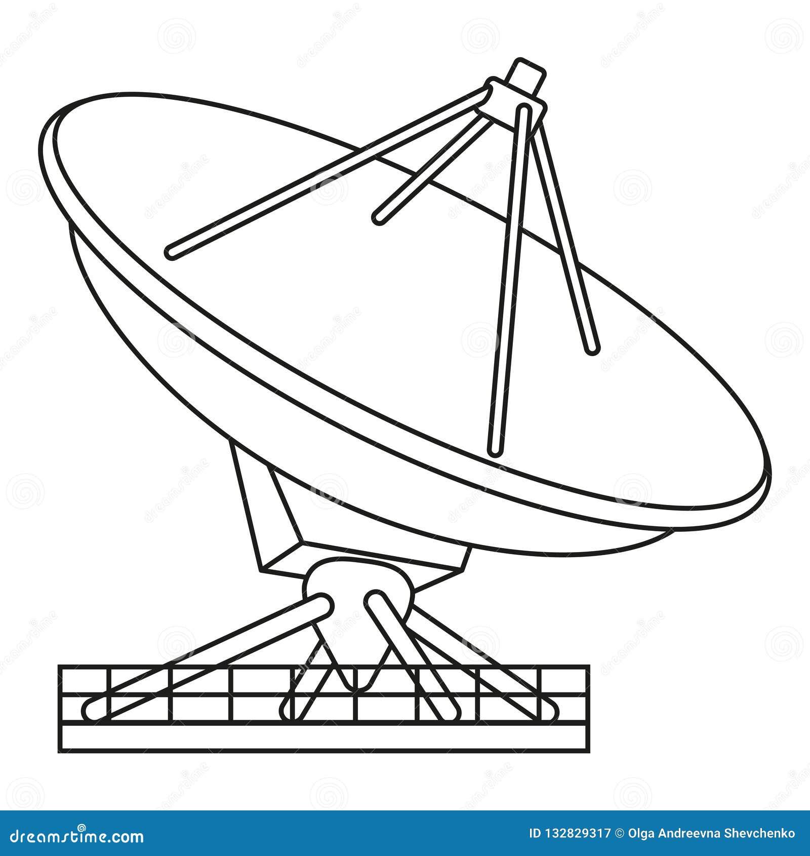Line Art Black And White Radar Antena Stock Vector
