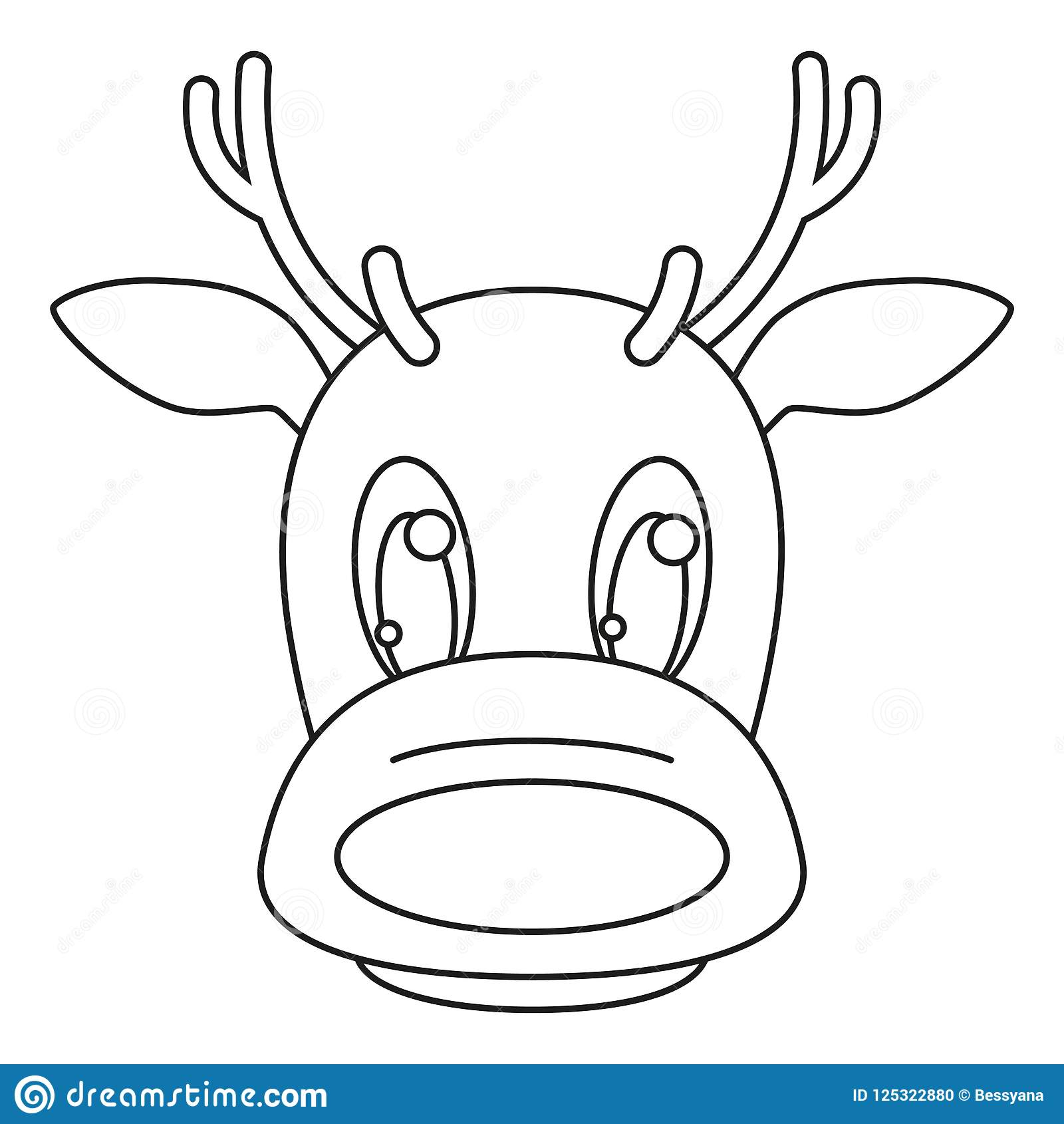 Line Art Black And White Reindeer Head Stock Vector ...