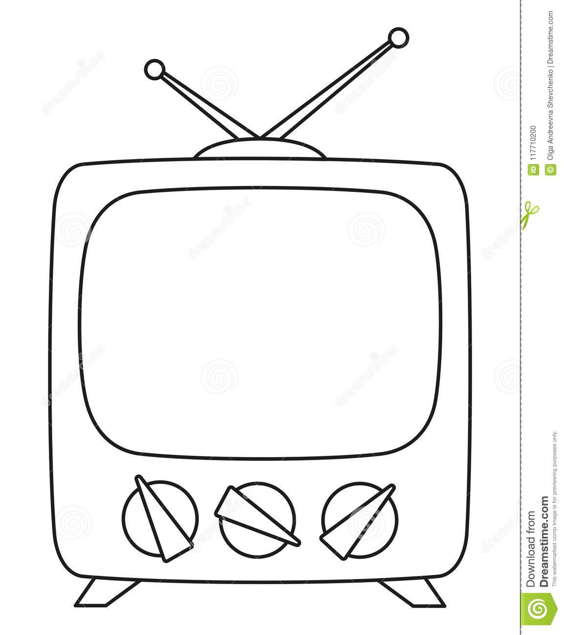 Line Art Black And White Retro Television Stock Illustration ...