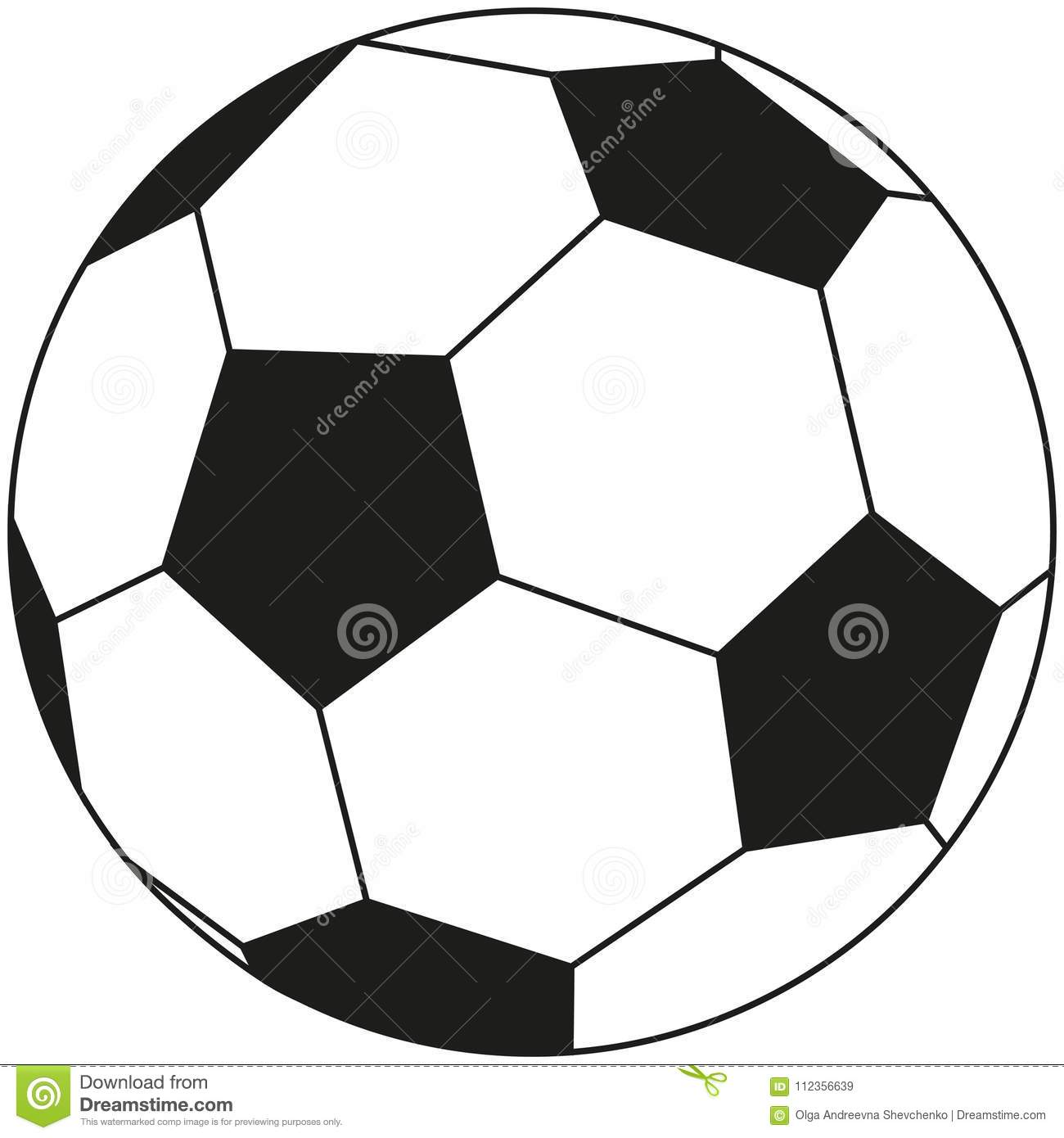 Line art black and white soccer ball icon