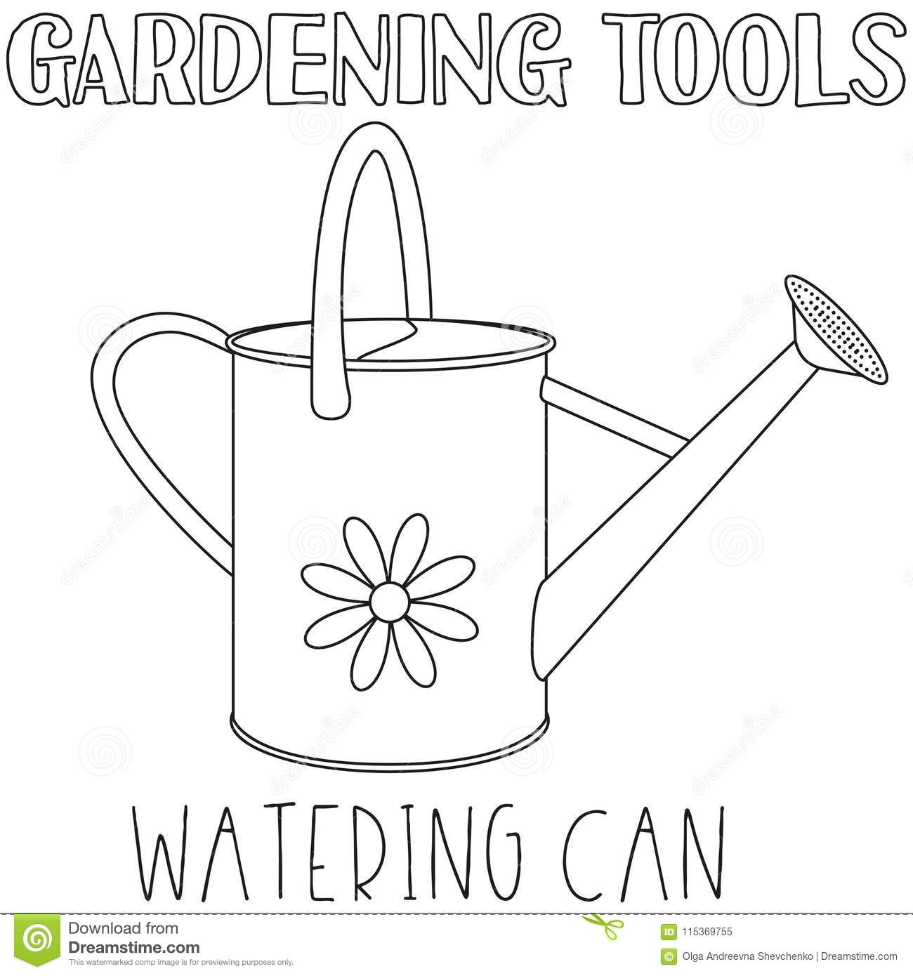 Line Art Black And White Watering Can Stock Illustration