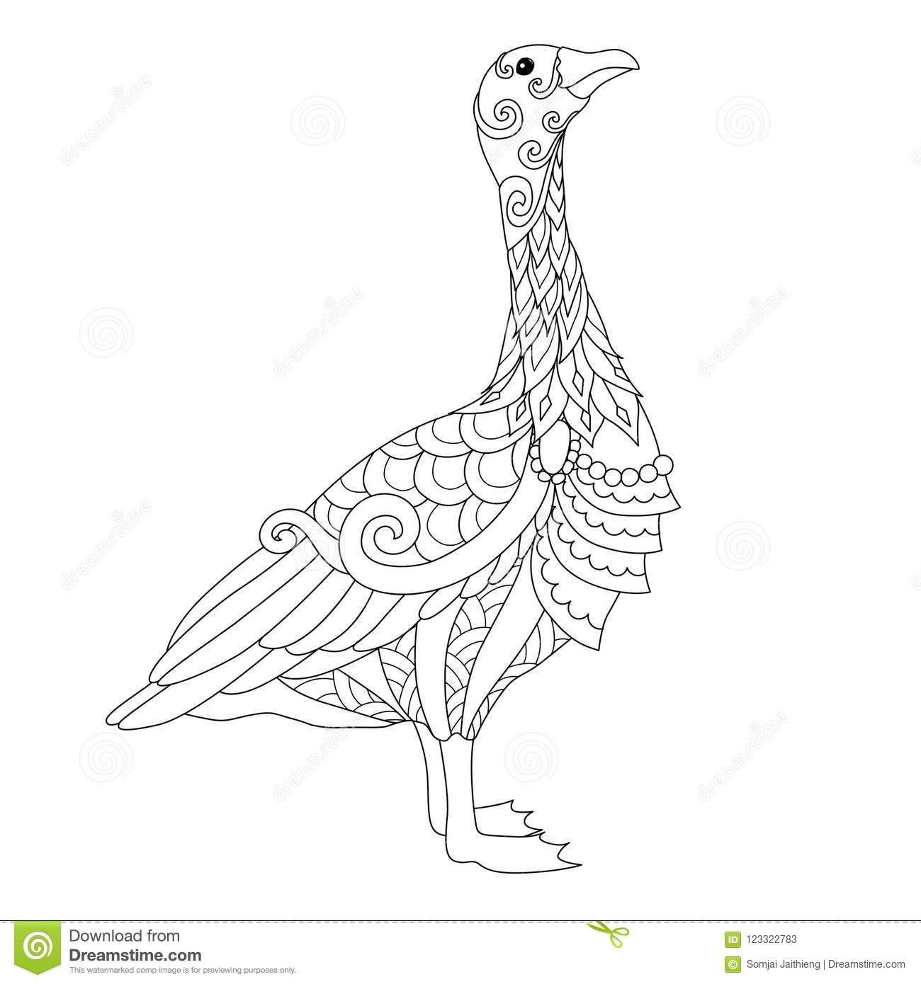 Line Art Of Cute Goose In York City Uk For Design Element And