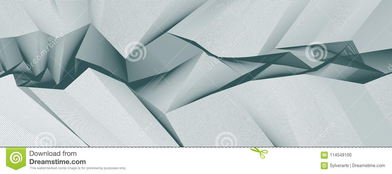 Line art 3d abstract vector background with geometric linear terrain surface of fantastic cosmic planet landscape, science