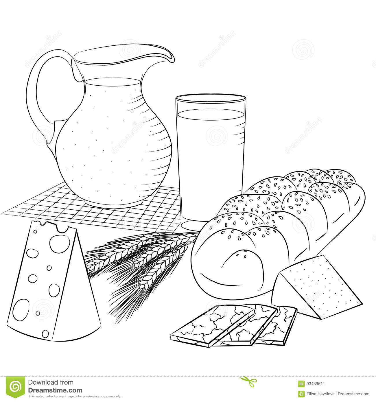 line art dairy products and bread stock illustration