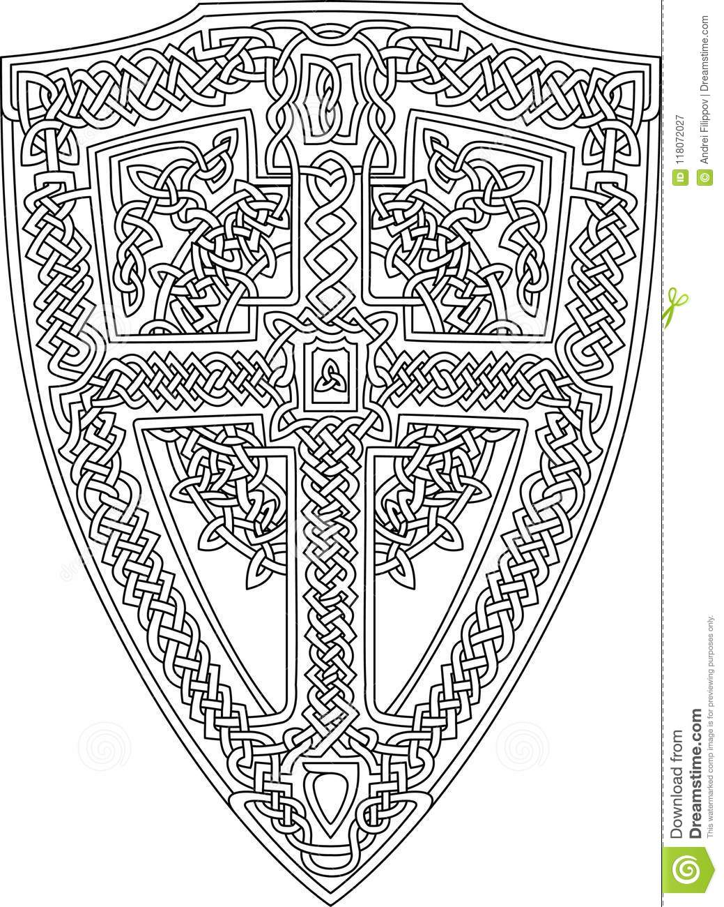 Coloring Book Page With Celtic Shield Stock Vector - Illustration of ...