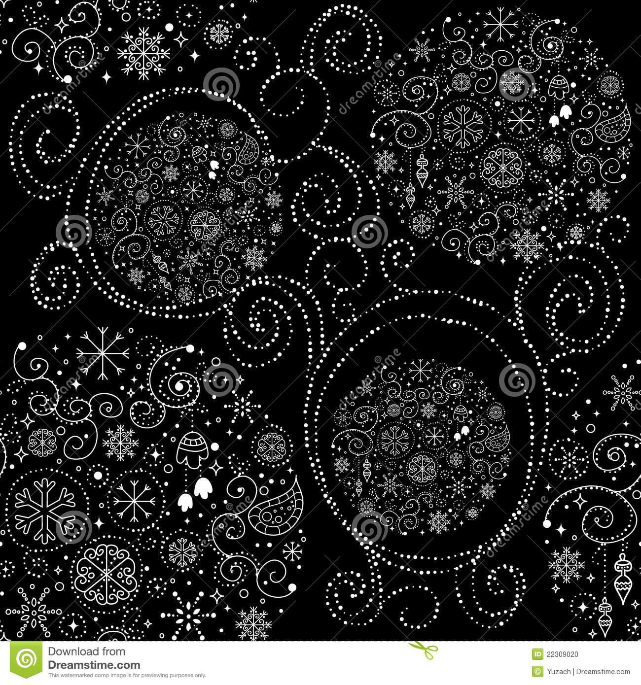 Line art design Christmas seamless pattern