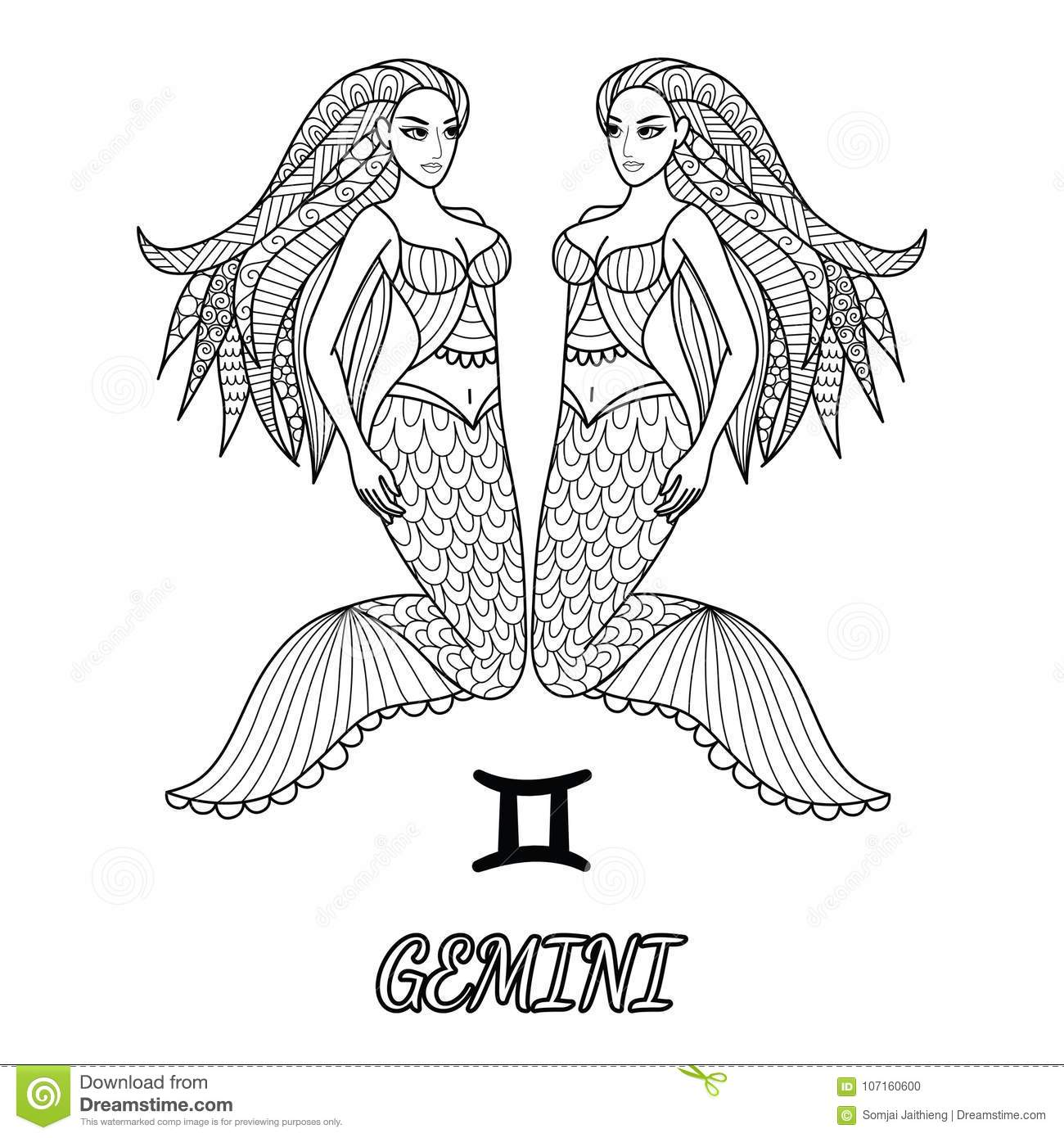 Line Art Design Of Gemini Zodiac Sign For Element And Adult Coloring Book Page