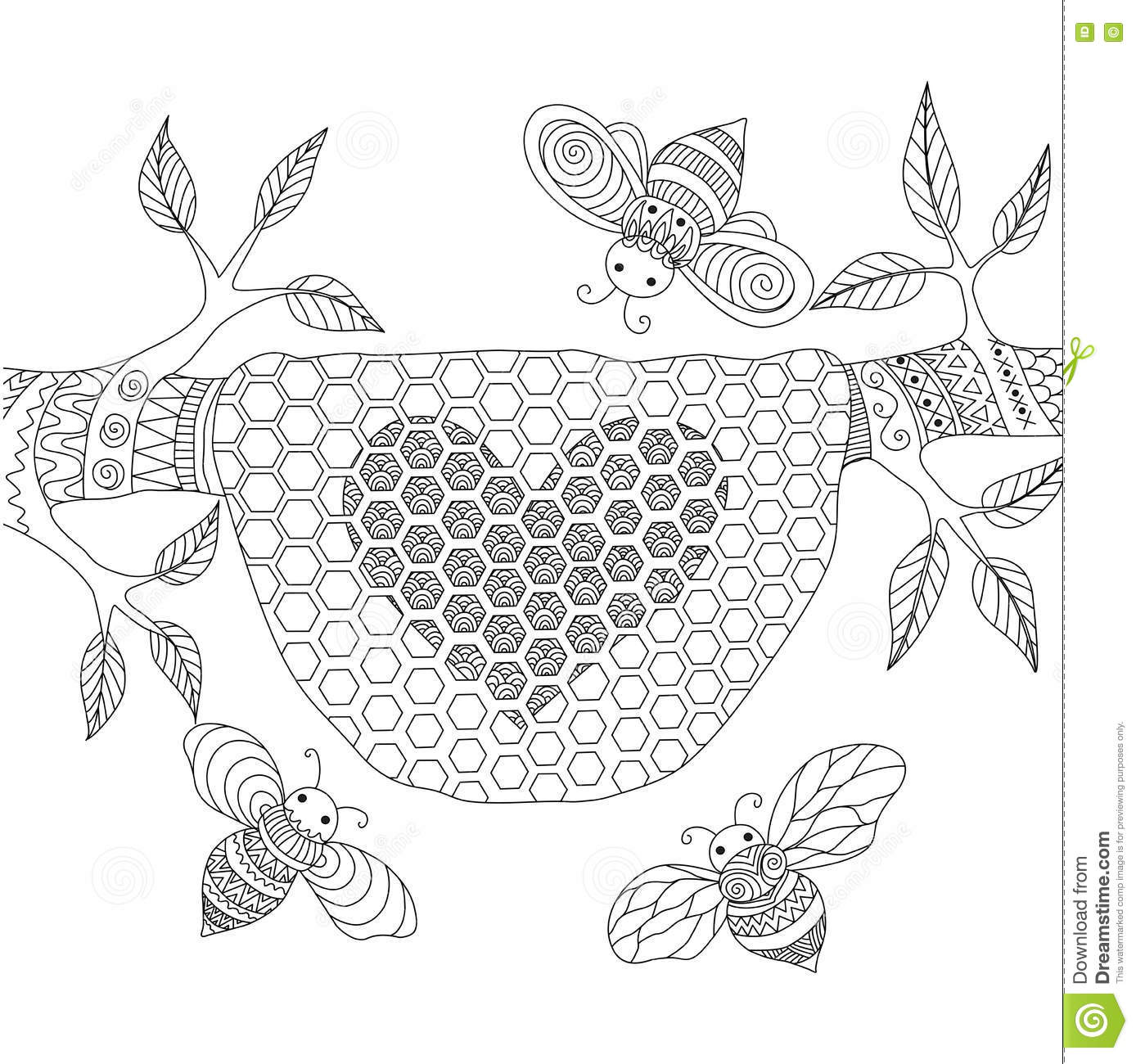 line art design of honey bees flying around beehive stock vector
