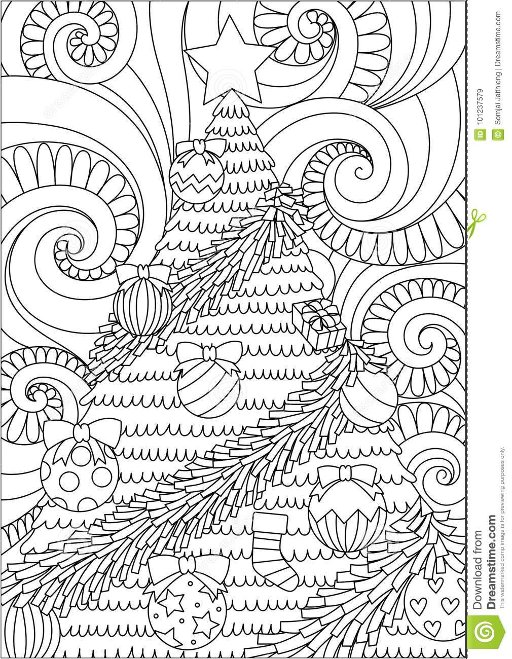 Line Art Poster Design : Line art design of storm scrolling and christmas tree for