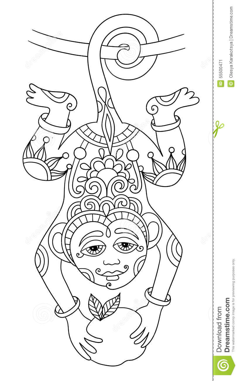 Line Art Drawing Of Ethnic Monkey In Decorative Stock Vector ... for Line Drawing Monkey  45ifm
