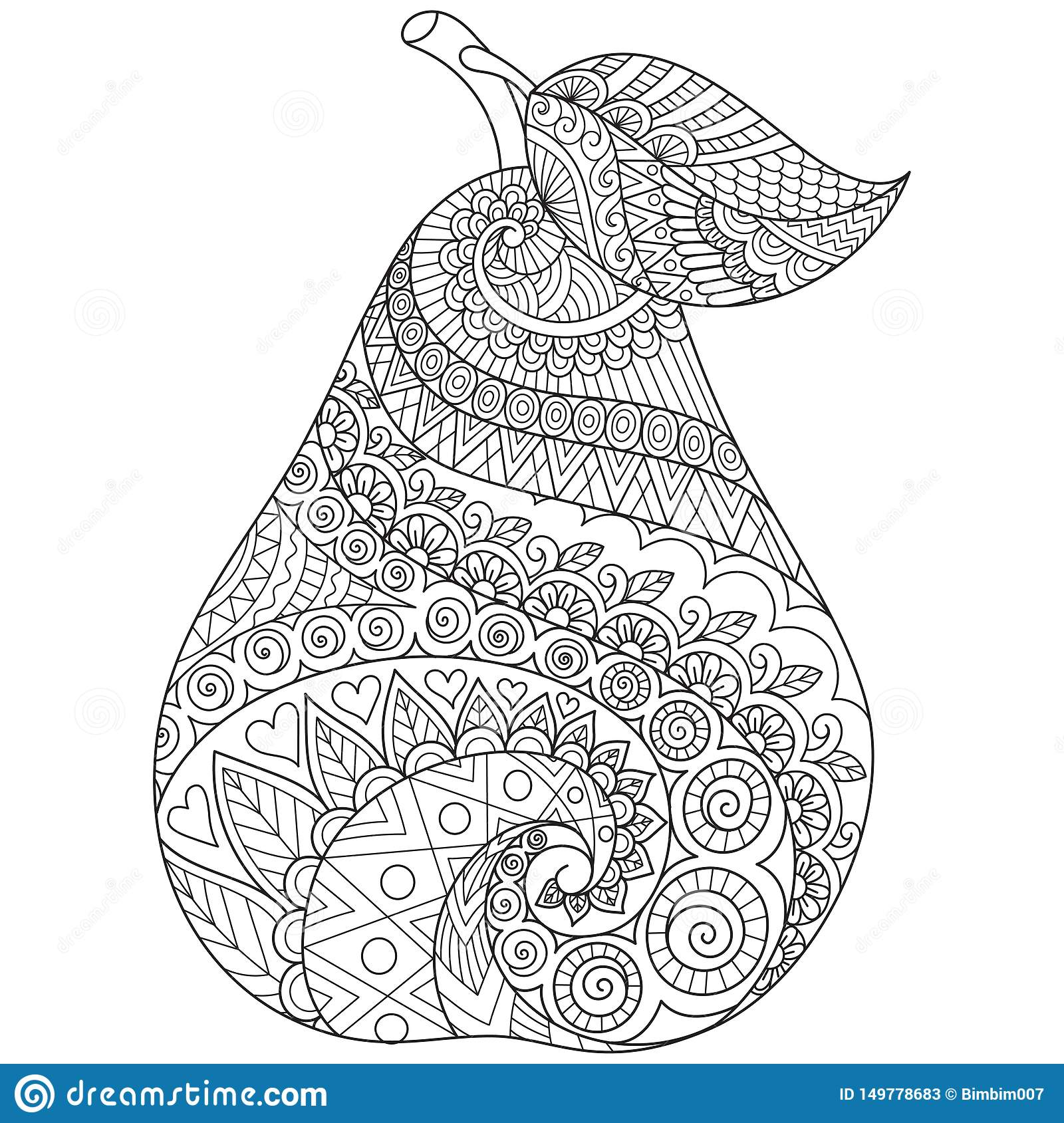 Line Art Drawing Of Pear With Editable Stroke Width For ...