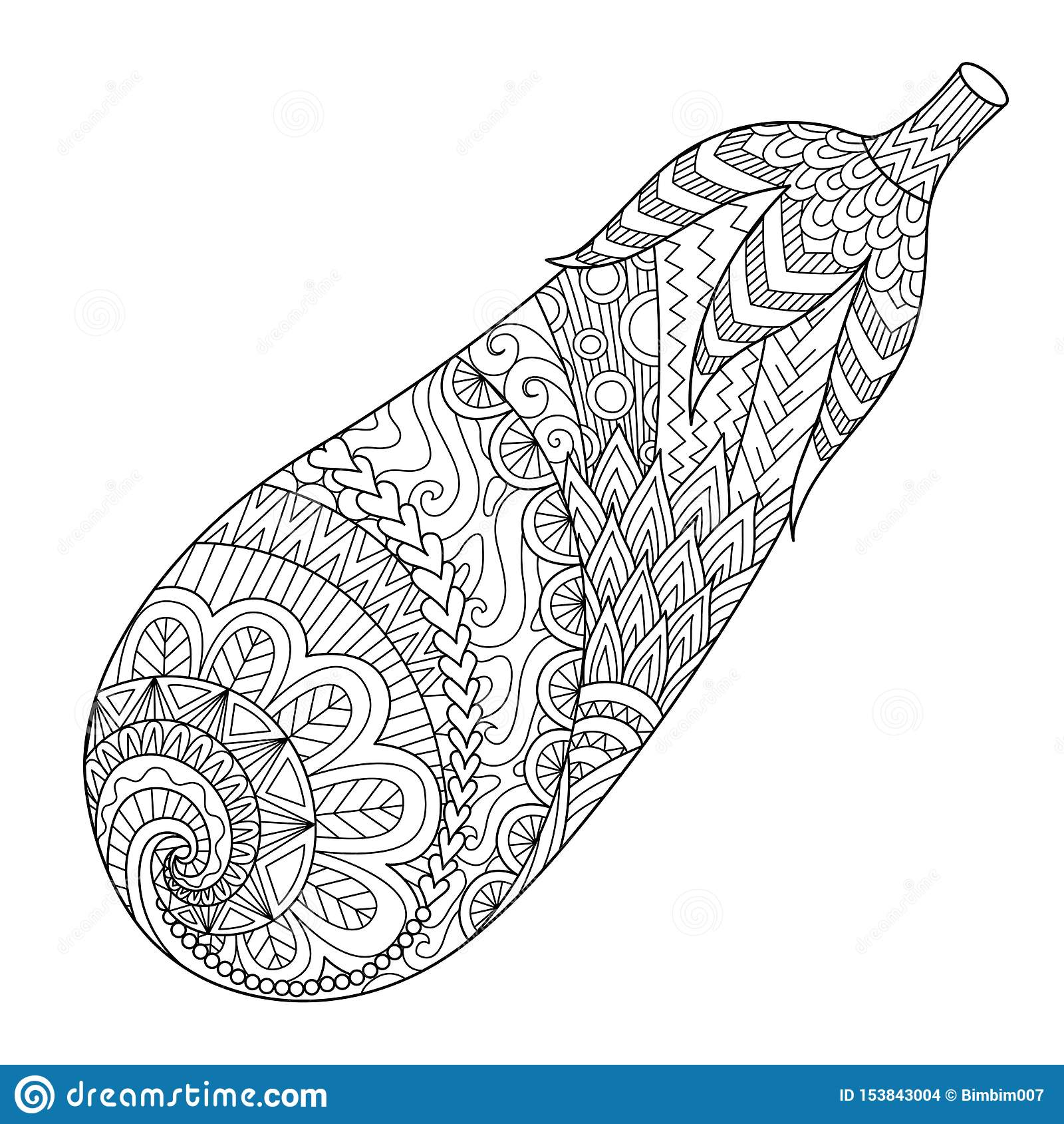 Line Art Of Eggplant, Doodle Art For Printing On Stuff And ...