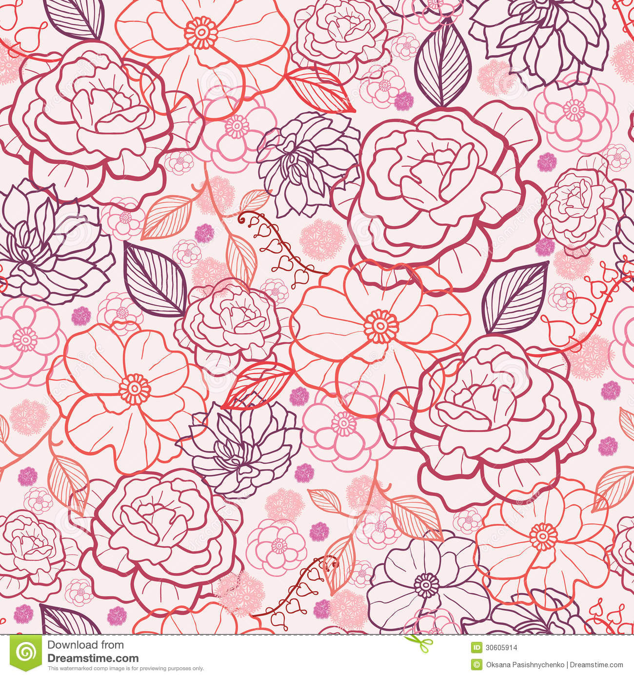 Line Art Flowers Vector : Purple line art flowers seamless pattern vector