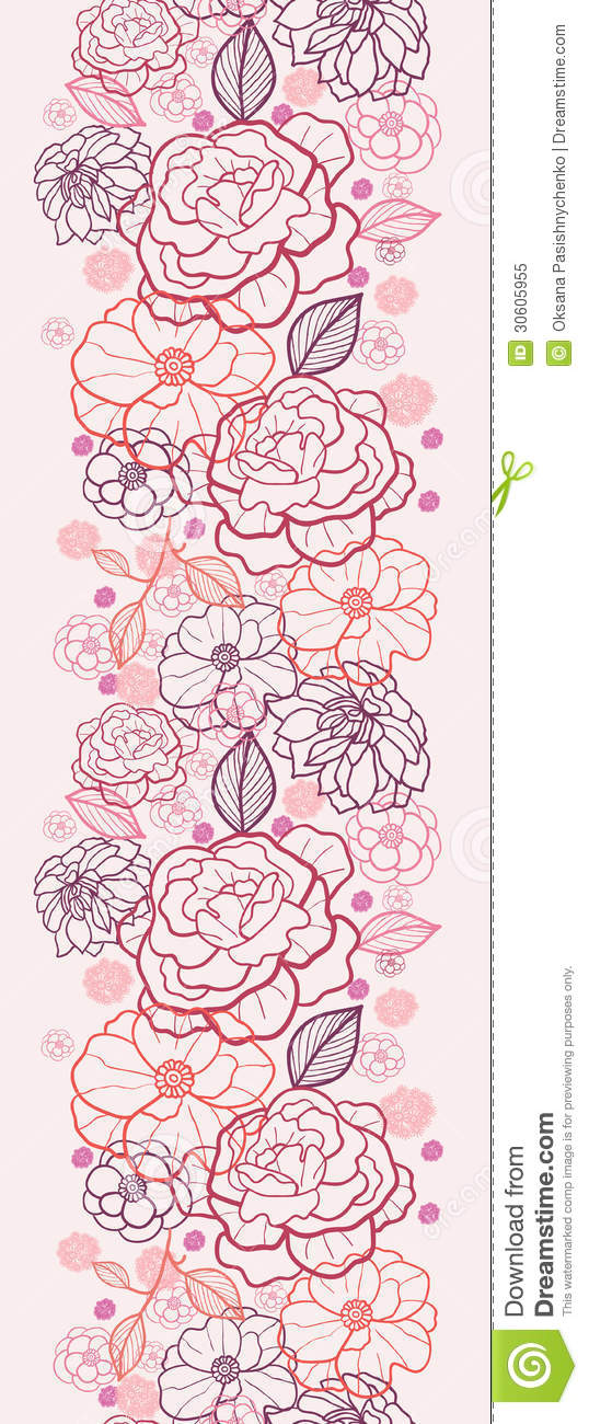 Drawing Vertical Lines In Html : Flower drawing vertical line seamless pattern vector