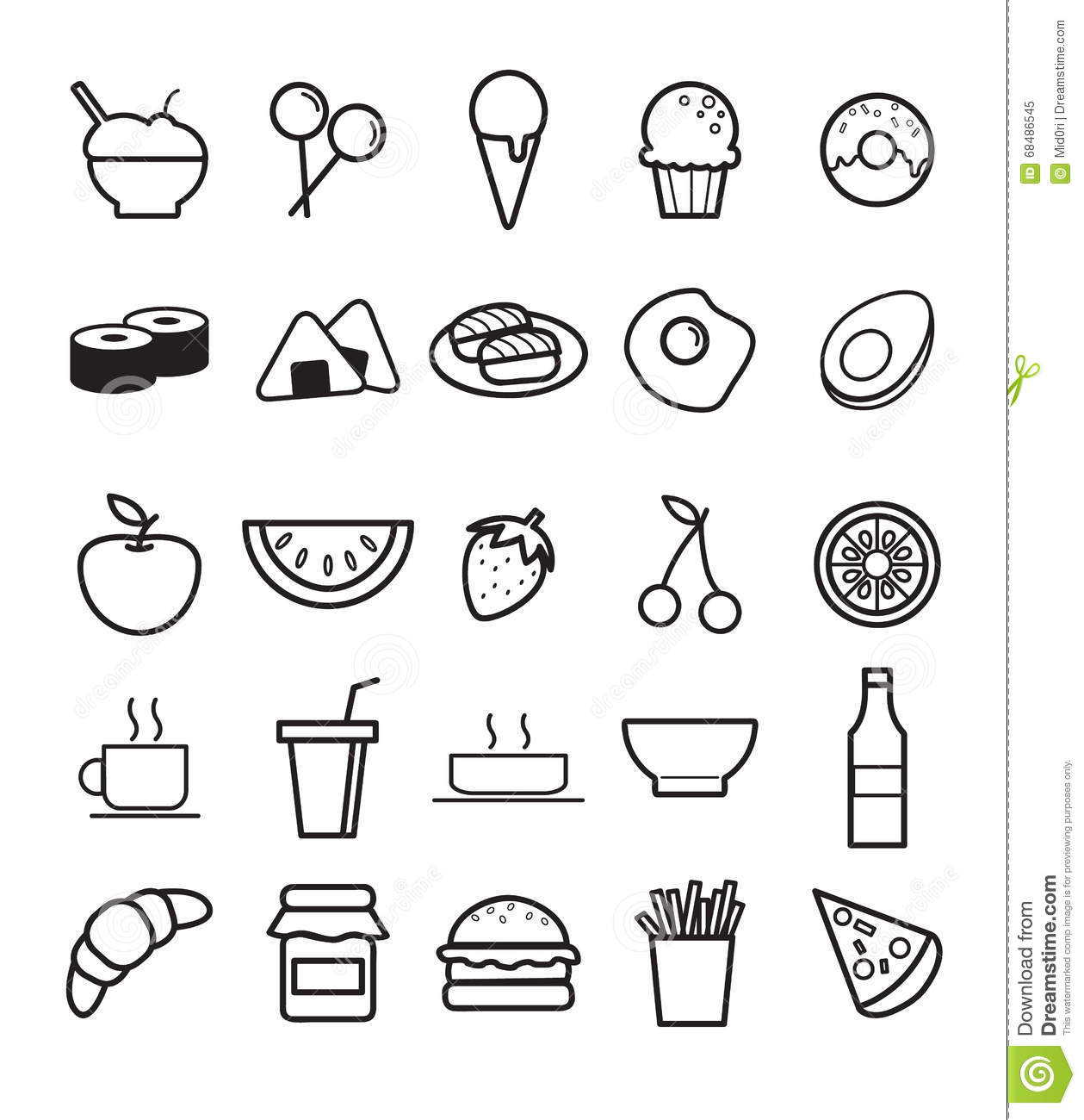 Line Art Food : Line art food set stock vector illustration of black
