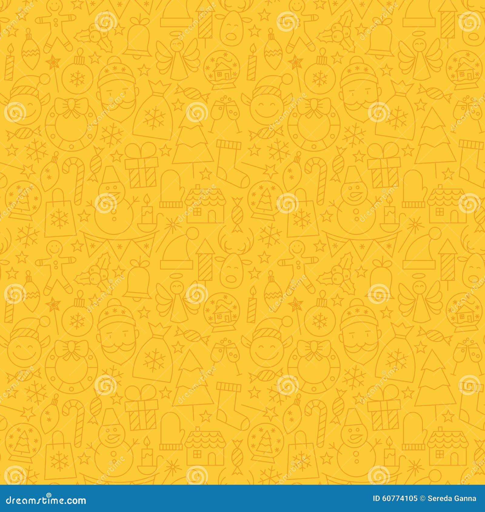 line art happy new year seamless yellow pattern