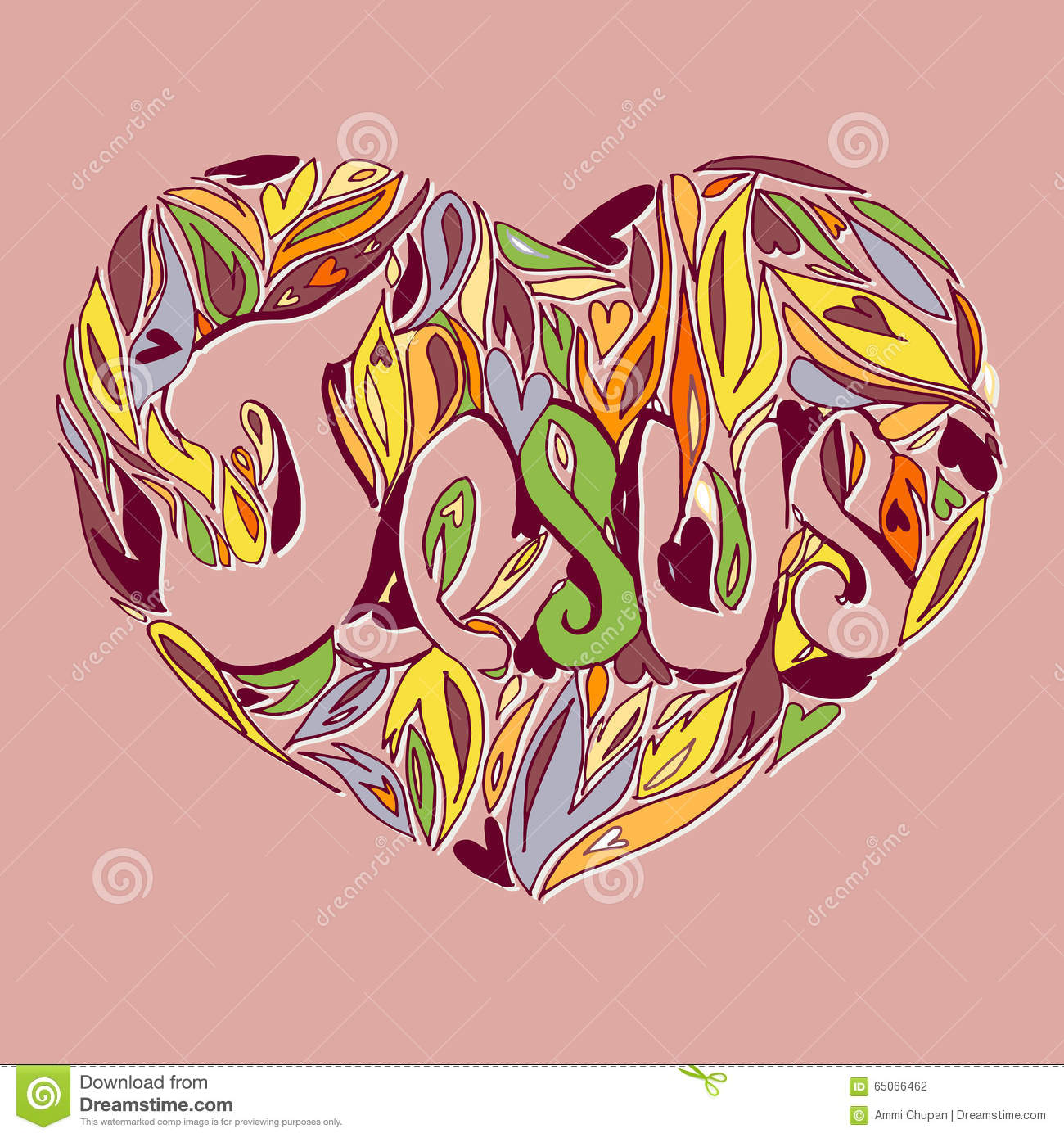 line art heart with jesus name stock photo image 65066462
