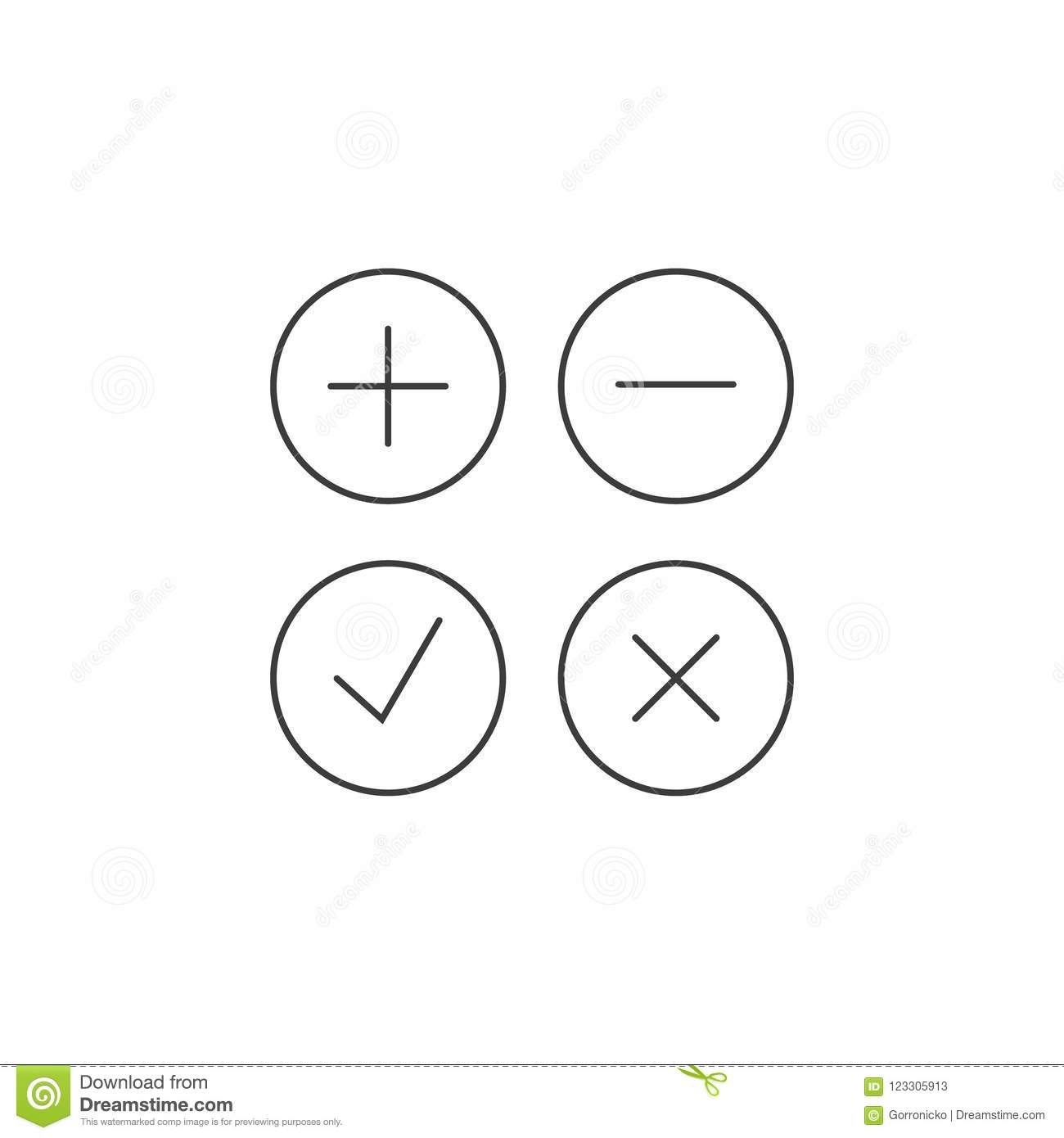 Line art icons for adding and subtracting, accepting and rejecting in a round frame