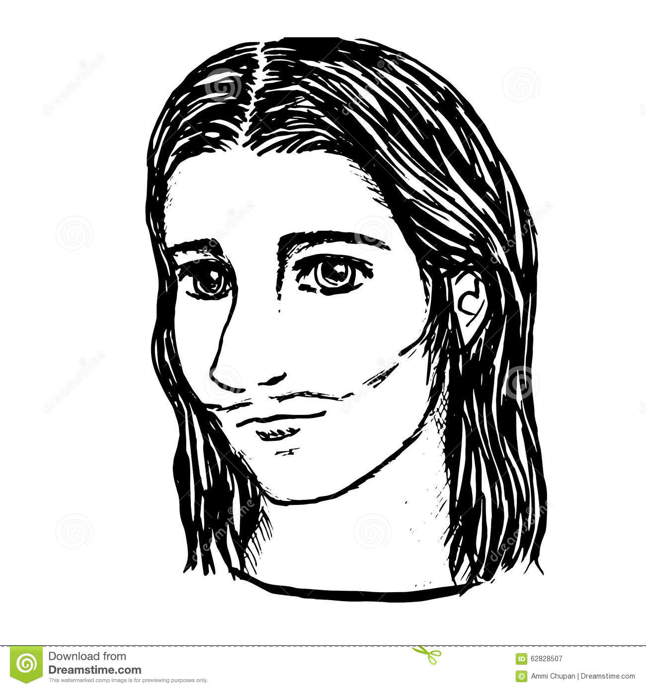 Line Drawing Of Jesus Face : Line art illustration of jesus face by hand drawn stock