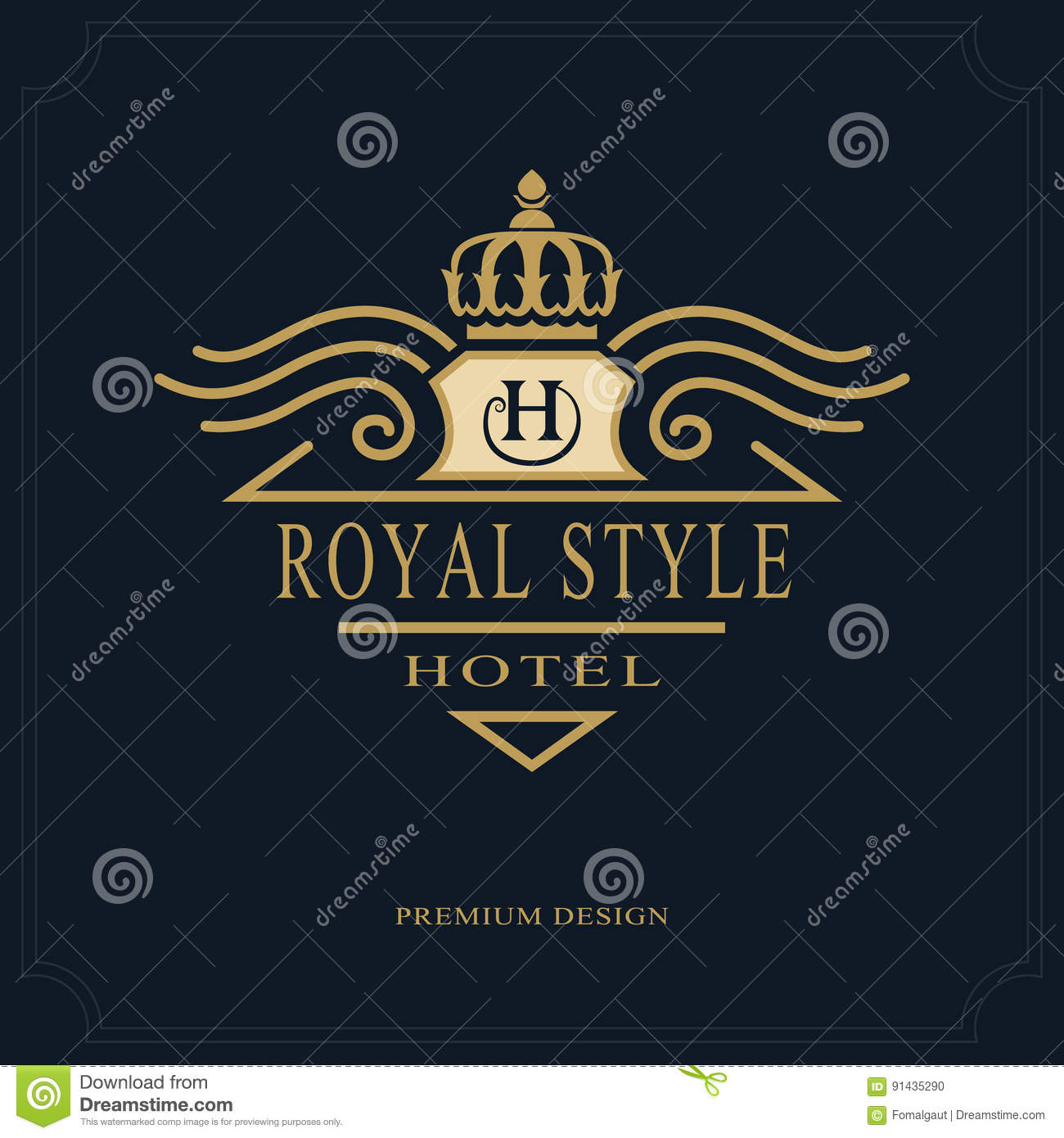 fdb665e9d38 Letter emblem sign H for Roy. Royalty-Free Vector. Line art Monogram luxury  design