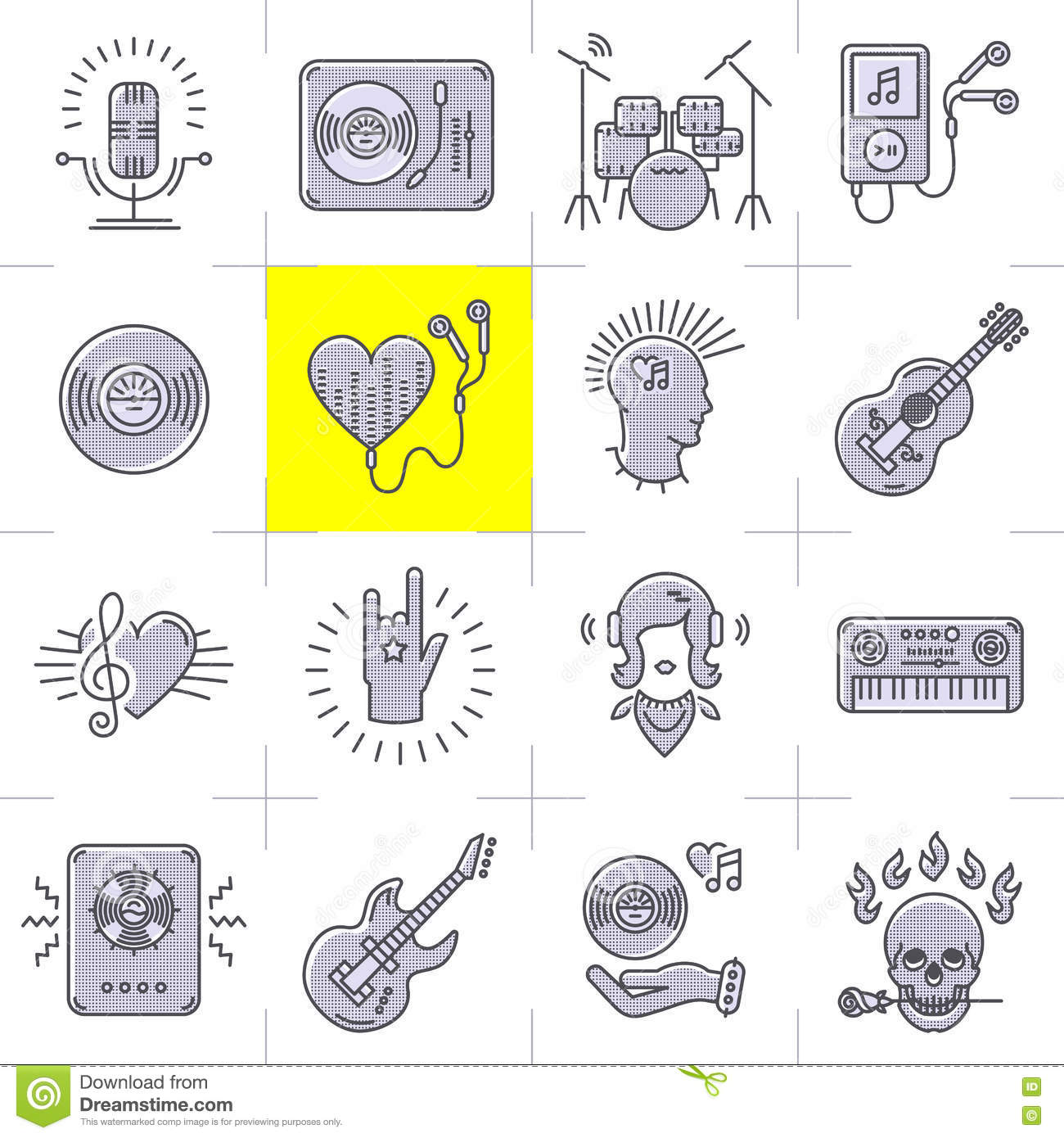 Line Art Icons : Line art music icons set rock punk symbols stock vector