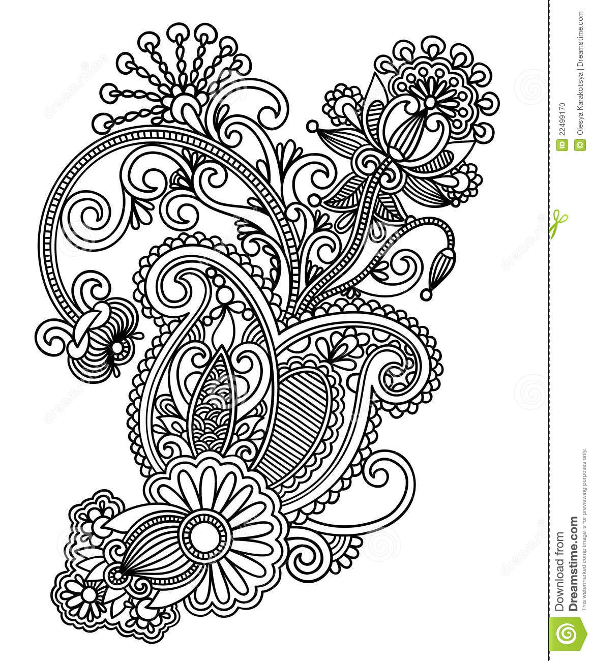 A Line Design : Line art ornate flower design stock vector illustration
