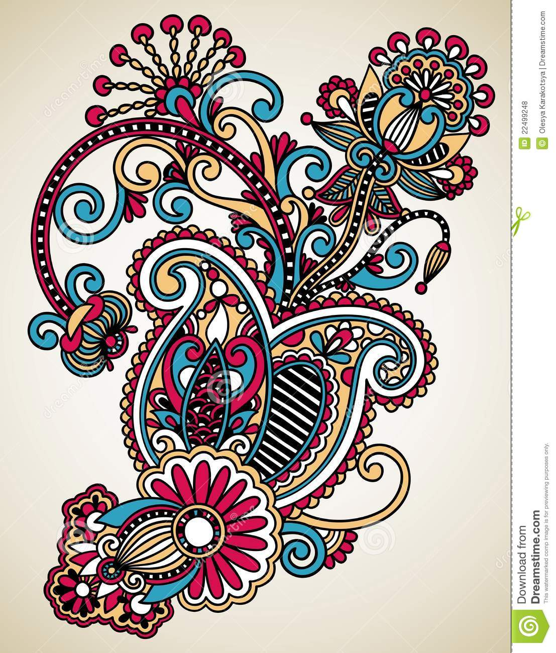 Line Drawing Flower Designs : Line art ornate flower design stock illustration