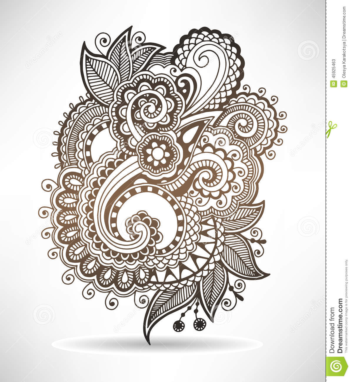Floral Art Line Design : Line art ornate flower design ukrainian ethnic stock