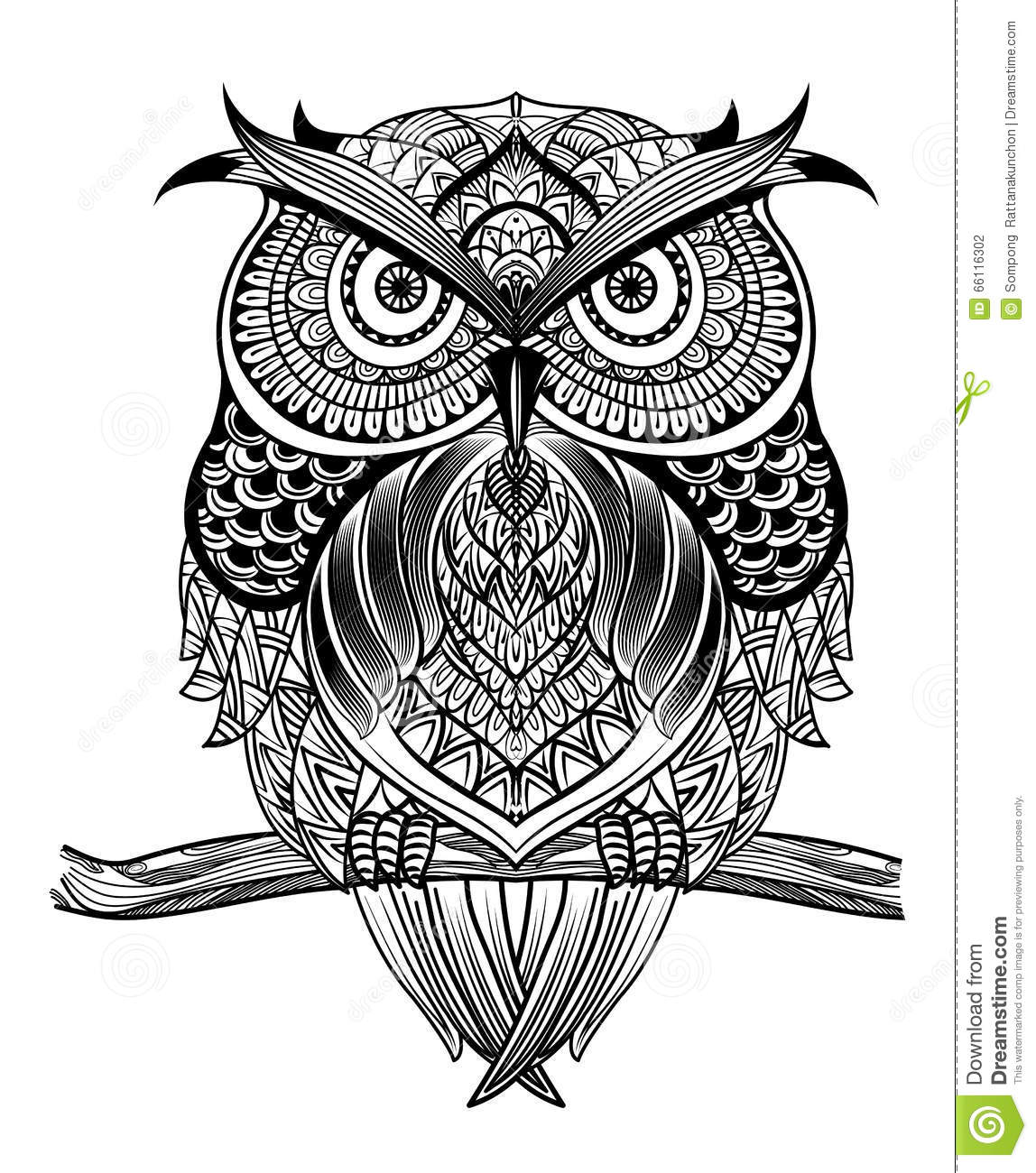 Line Art Prints : Line art owl stock vector illustration of page