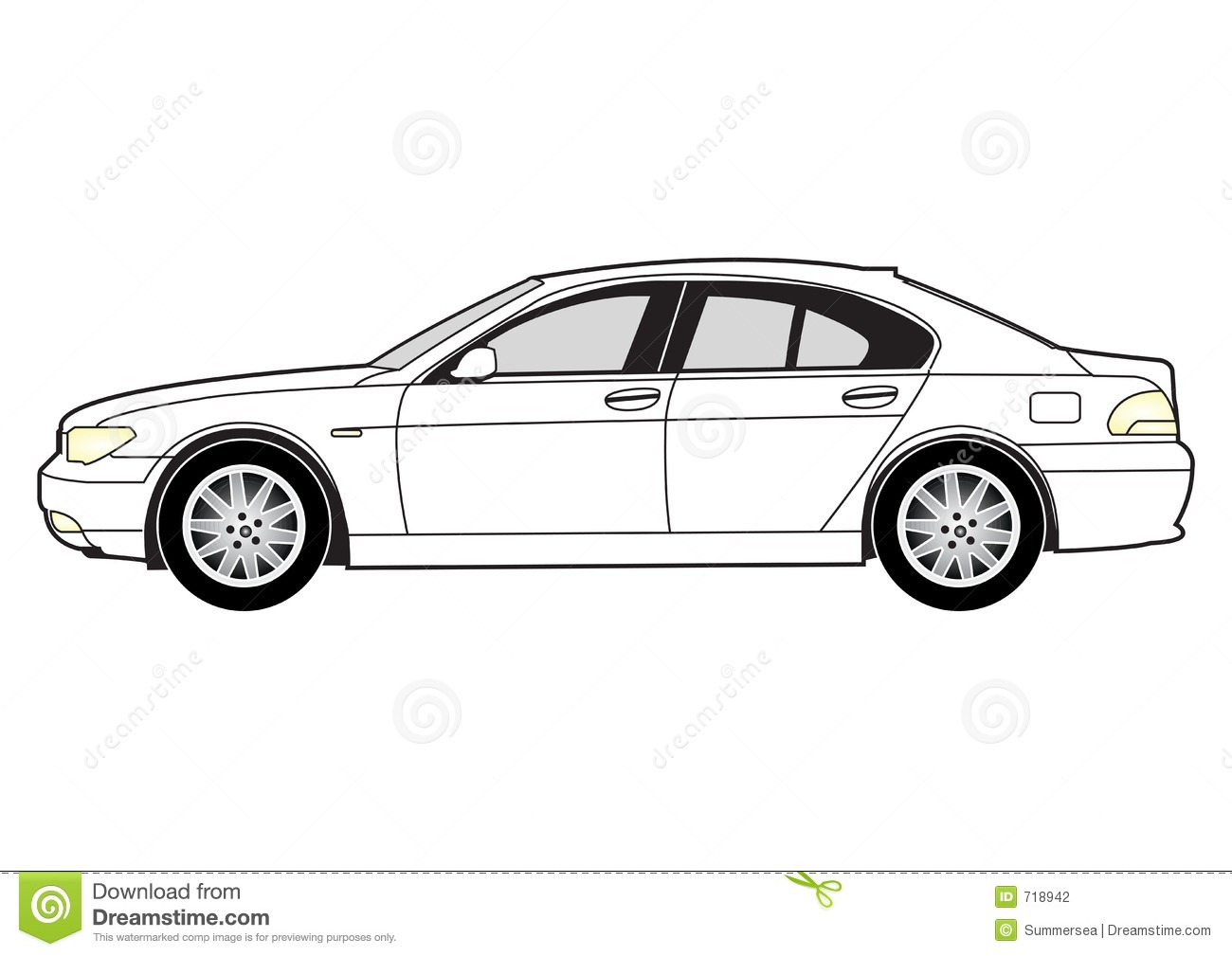 Line Art Saloon Car Stock Photography Image 718942