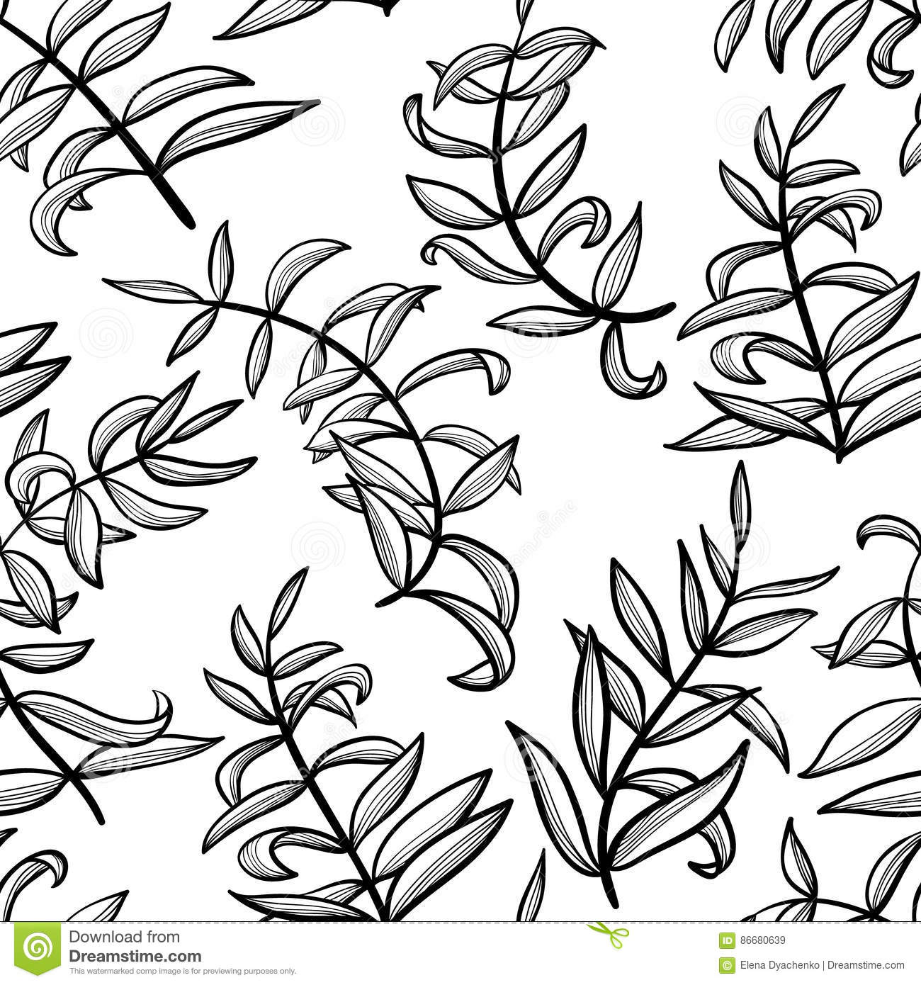 Simple Line Art Background : Line art seamless pattern with plants doodle simple