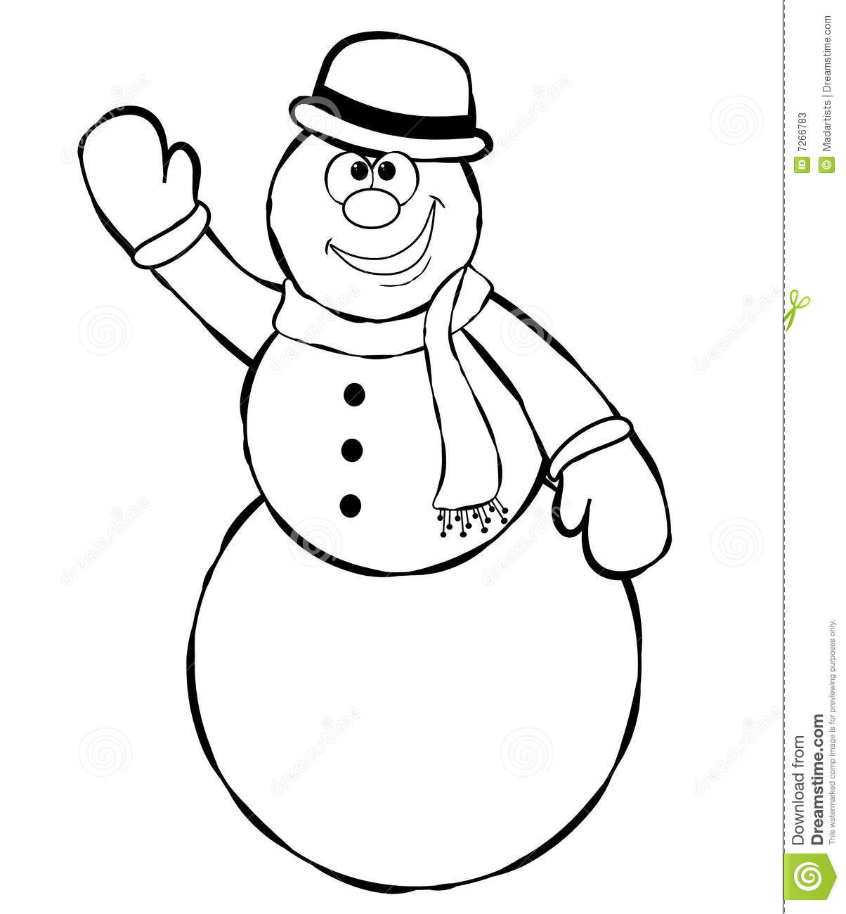 Line Art Snowman 2 stock illustration. Image of clipart ...