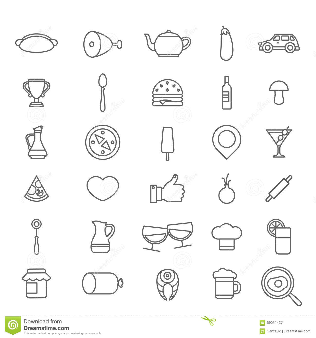 Line Drawing Icons : Line art style flat graphical set of web site mobile