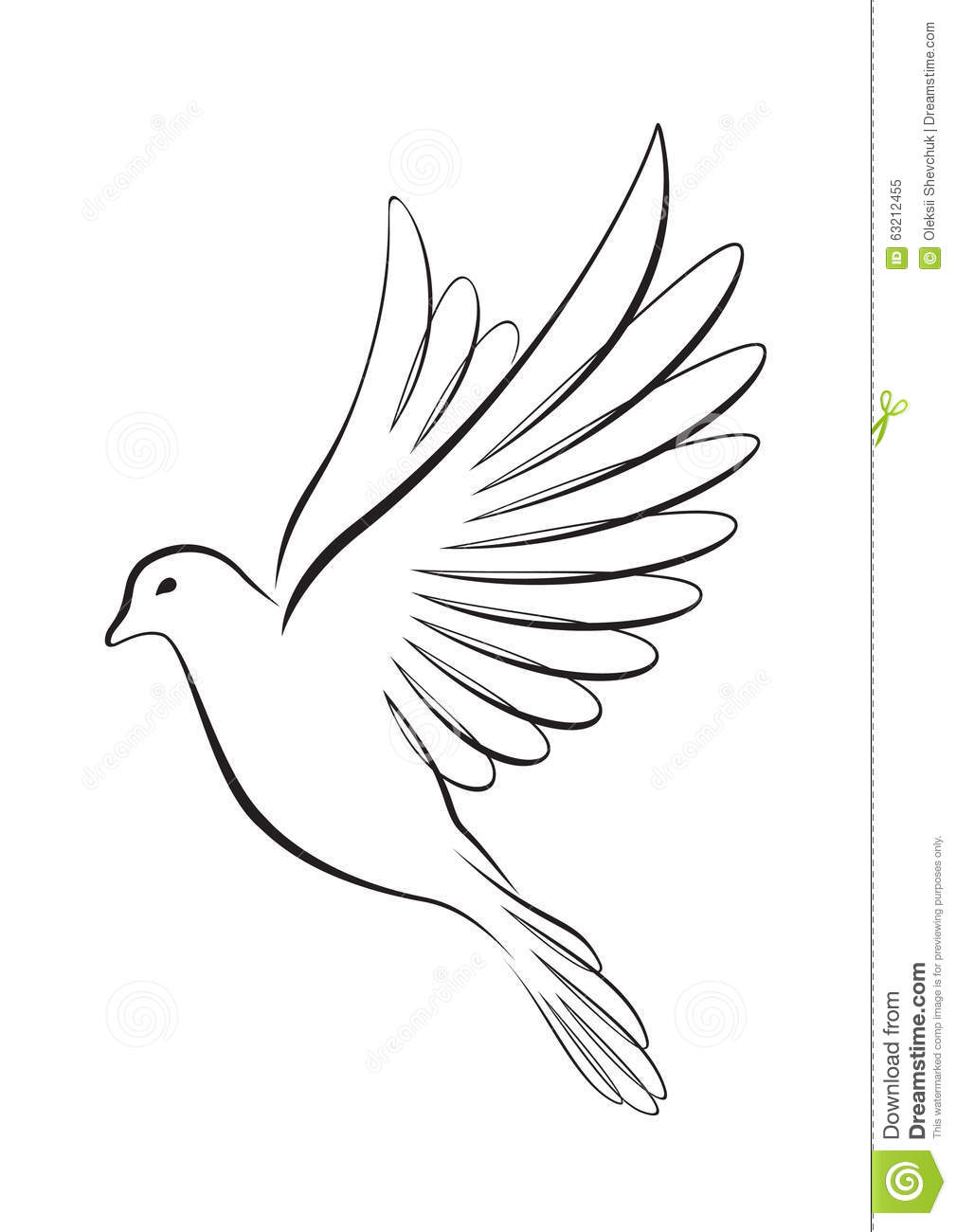 Line Art Dove : Line art style flying dove stock vector illustration of
