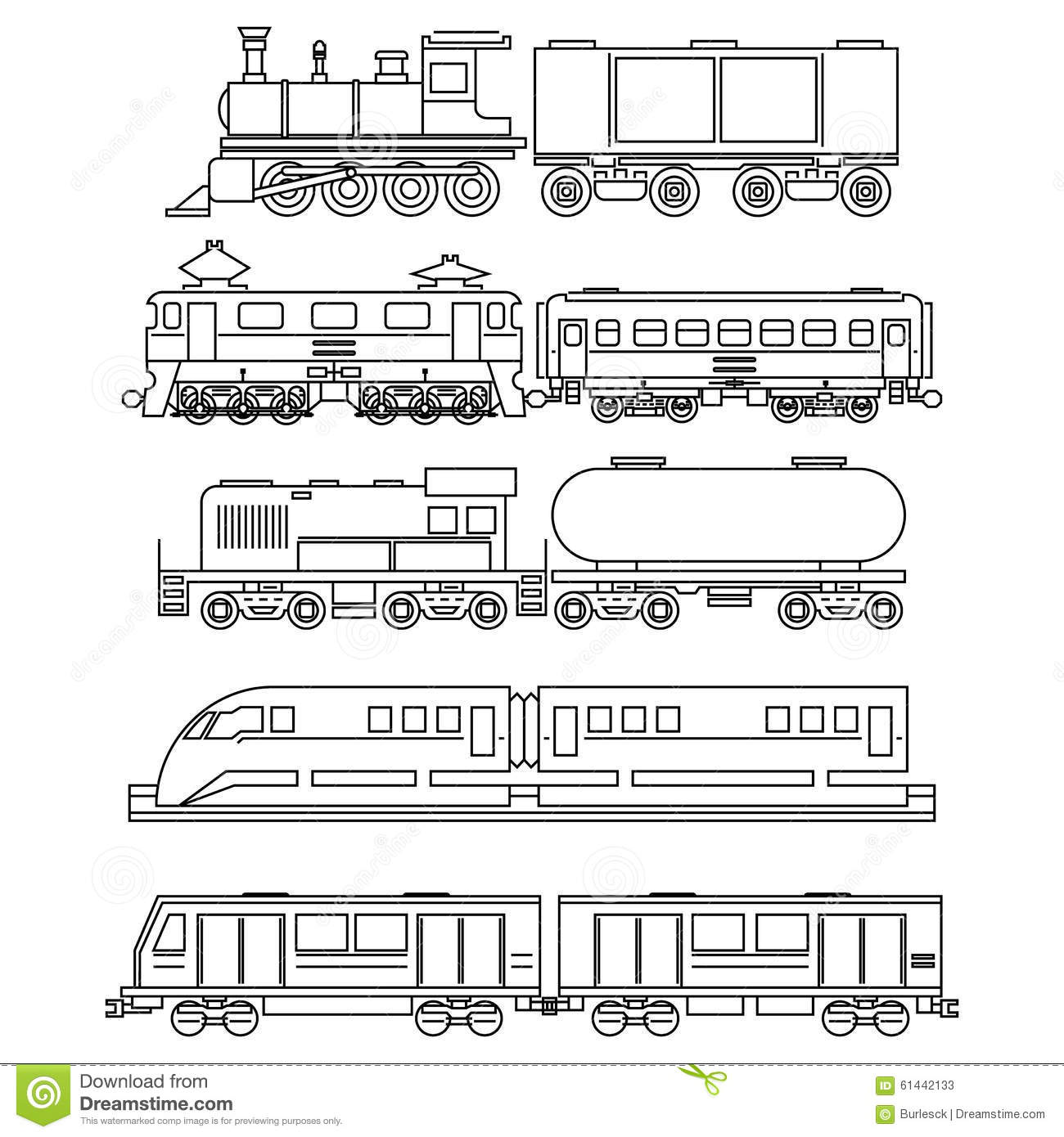 Line Art Train : Line art train icons stock vector image