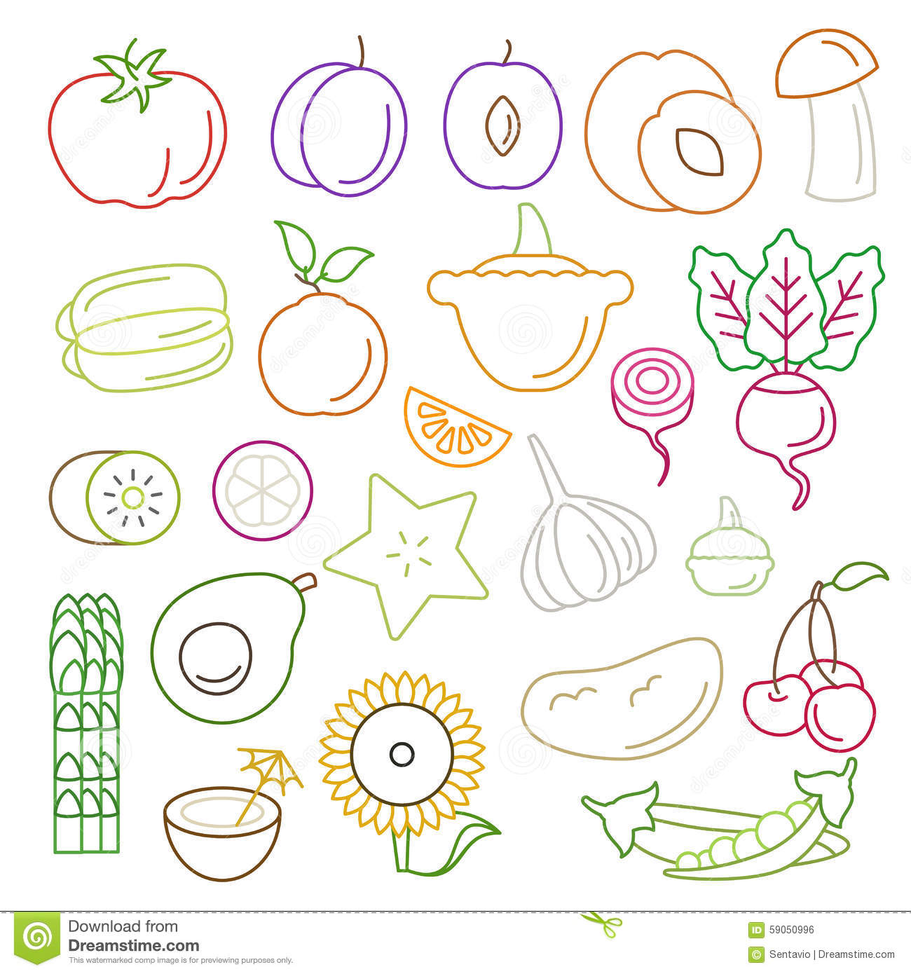 Line Art Vector : Fruit icons set flat design line art vector illustration