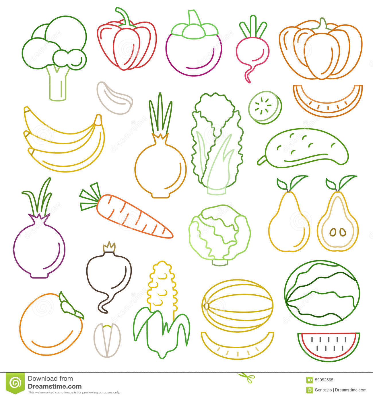 Line Art Vegetables : Fruit icons set flat design line art vector illustration