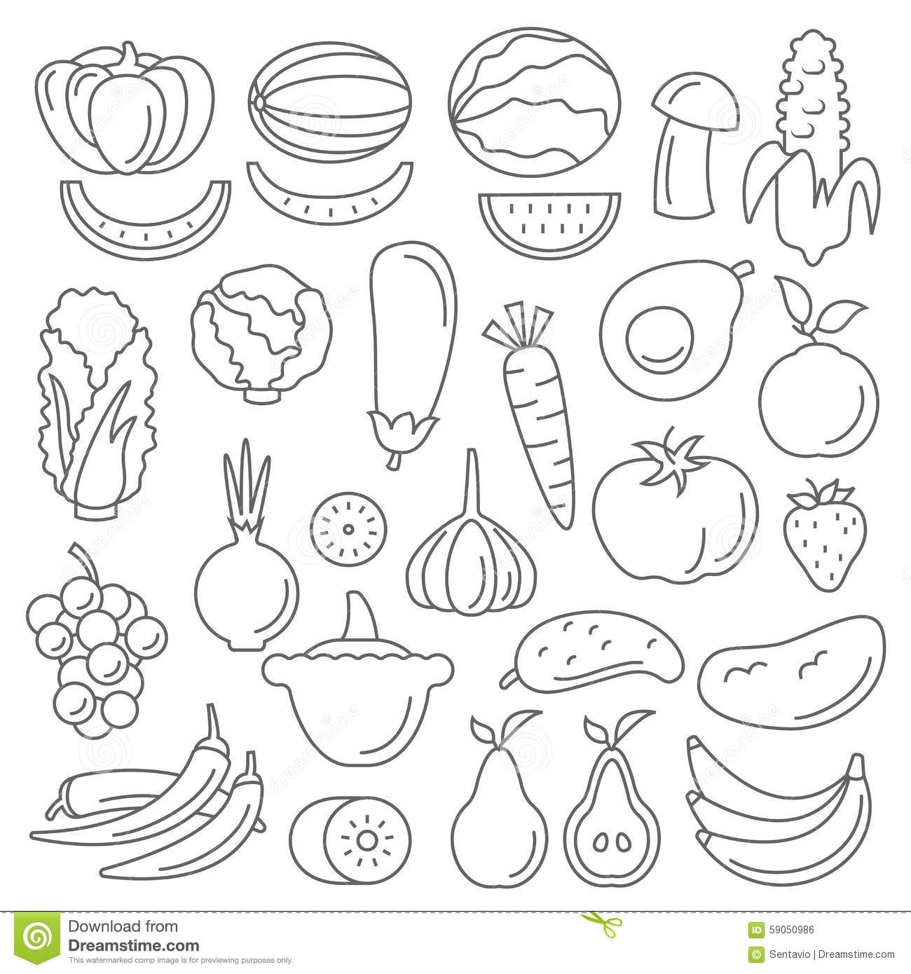 Line Art Vegetables : Line art fruit icons set flat design isolated vector