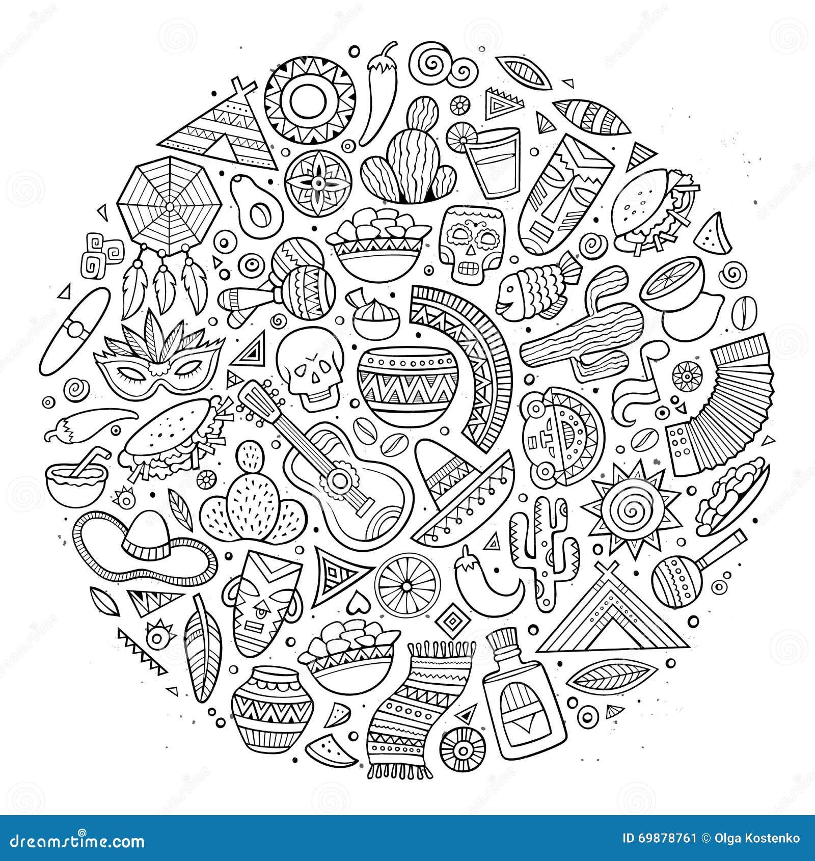 Line Art Doodles : Line art vector hand drawn doodle cartoon set of latin