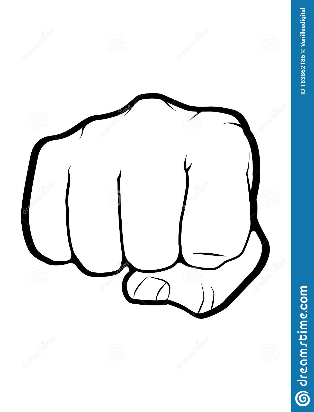 Fist Punch Front Hand Vector Illustration Drawing Stock Vector Illustration Of Fist White 183862186