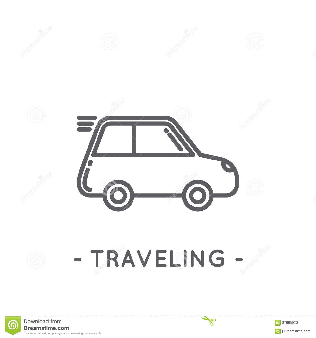 Line Black Traveling Icon On White Background Stock Vector Illustration Of Concept Bumper 87995920