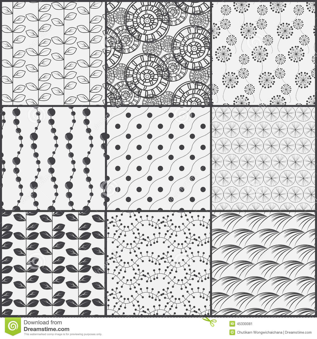 Line Black And White Nature Pattern Set Stock Vector