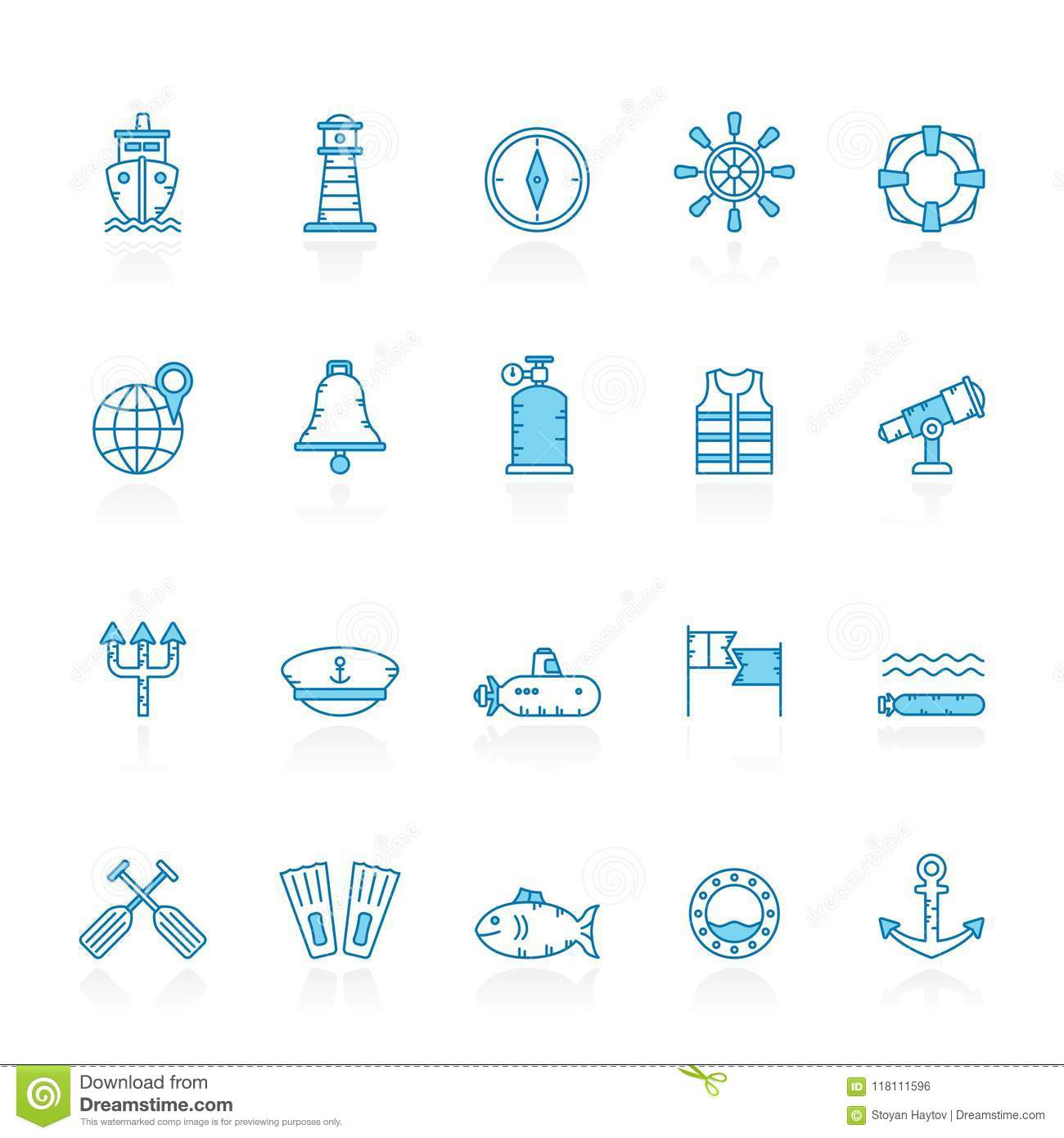 Line with blue background Navy, Marine, Sailing and Sea Icons