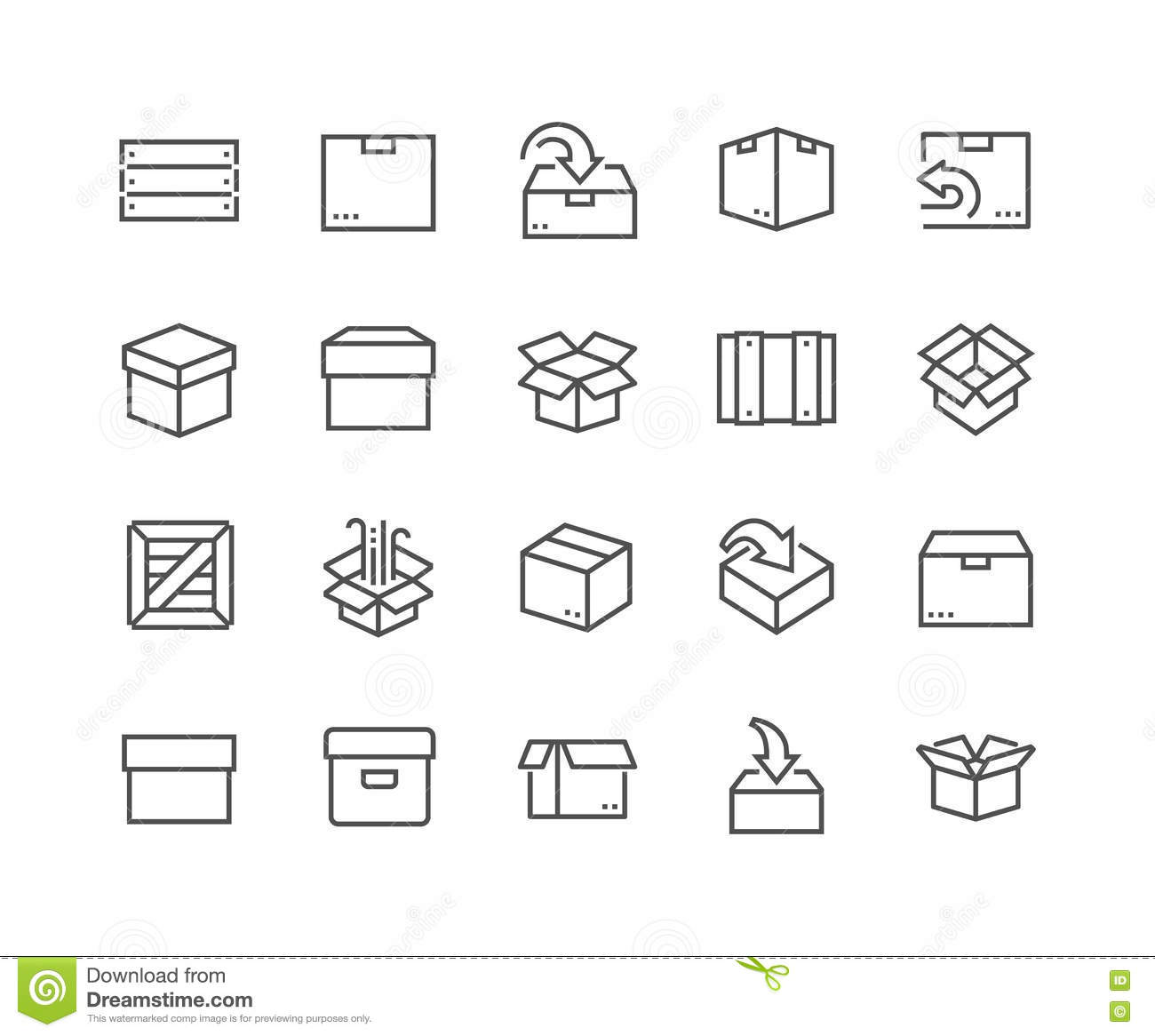 Line Box Icons Stock Vector. Illustration Of Fragile