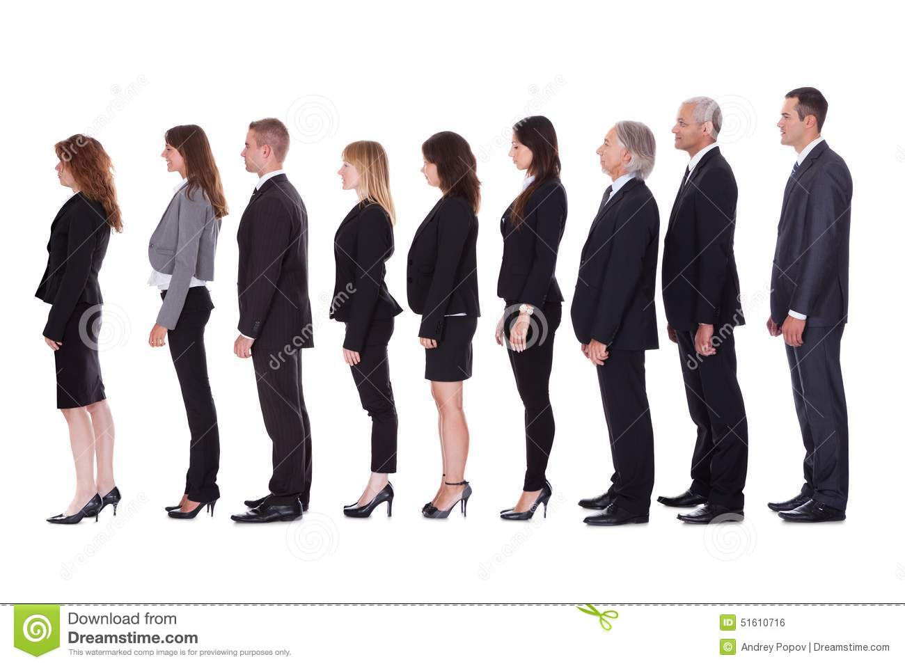 line of business people in profile stock photo image
