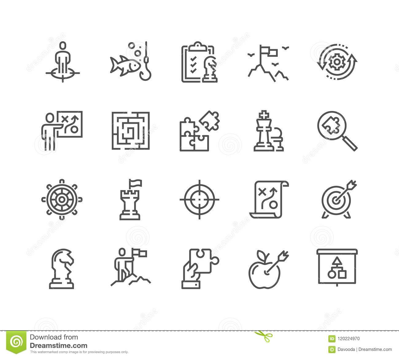 Line Business Strategy Icons