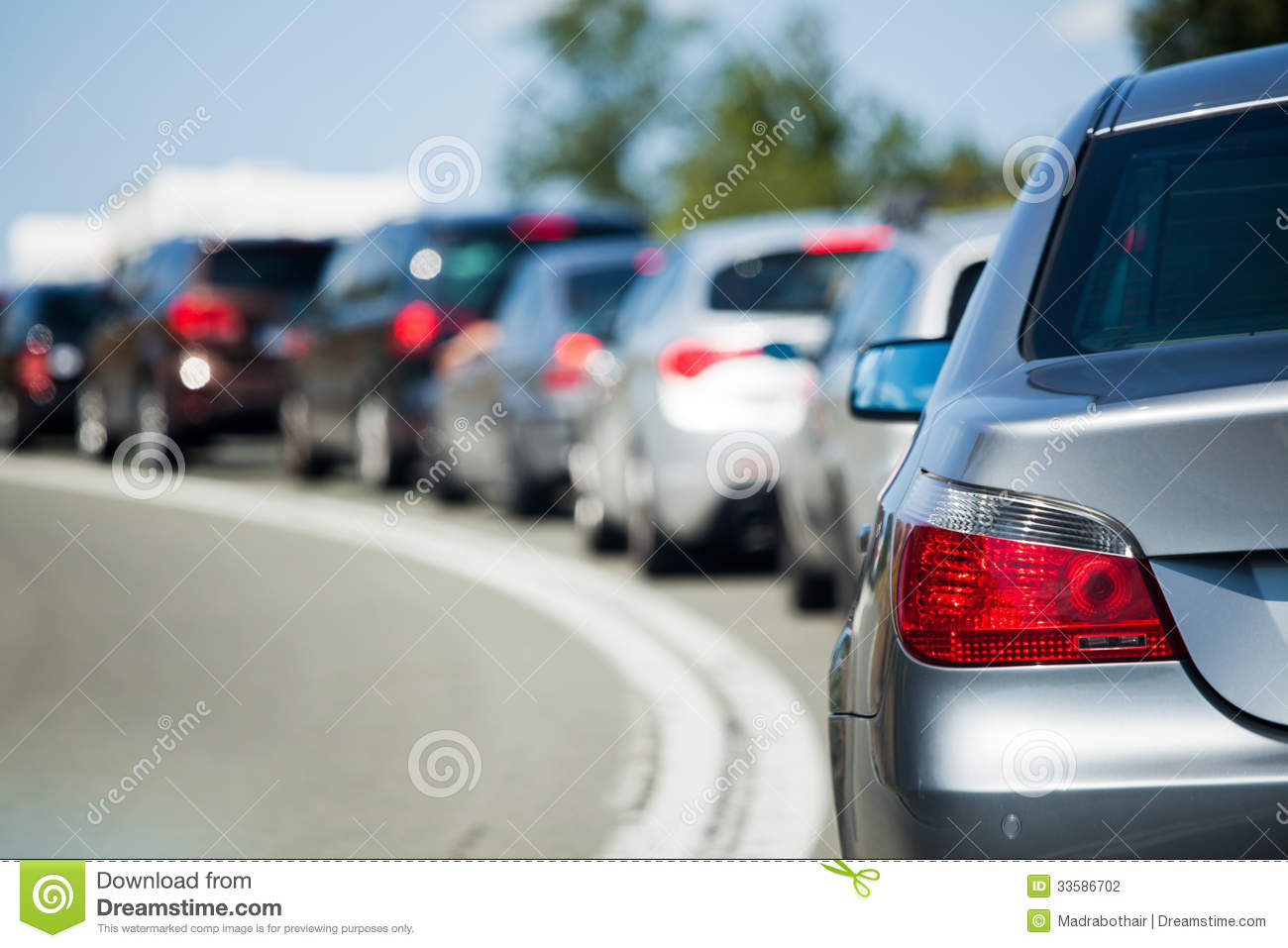 Line of cars on holiday stock photo. Image of landscape - 33586702