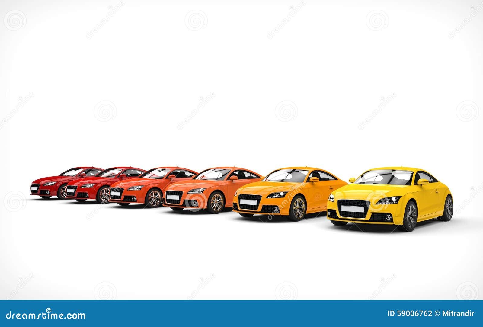 Line Of Cars - Warm Colors stock illustration. Illustration of ...