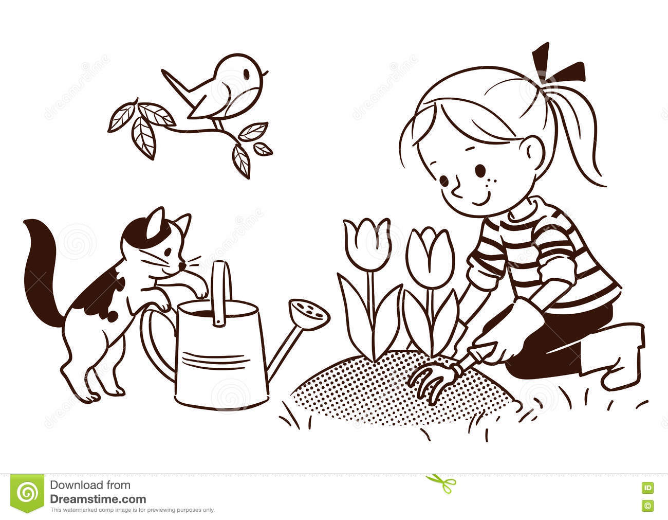 Line Cartoon Drawing Of A Small Girl Gardening In Spring Stock