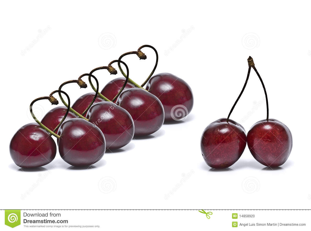 A line of cherry hearts.